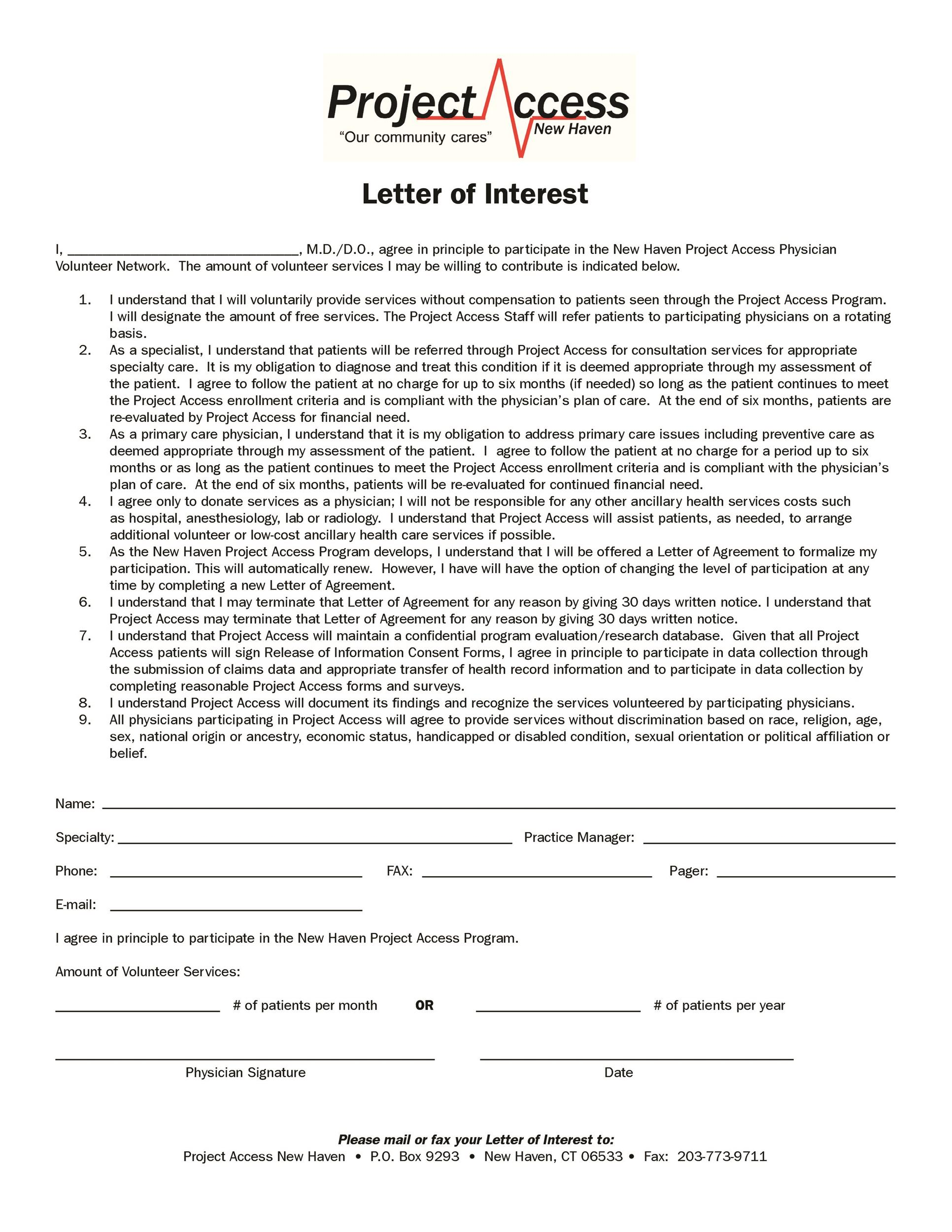 Letter of Interest