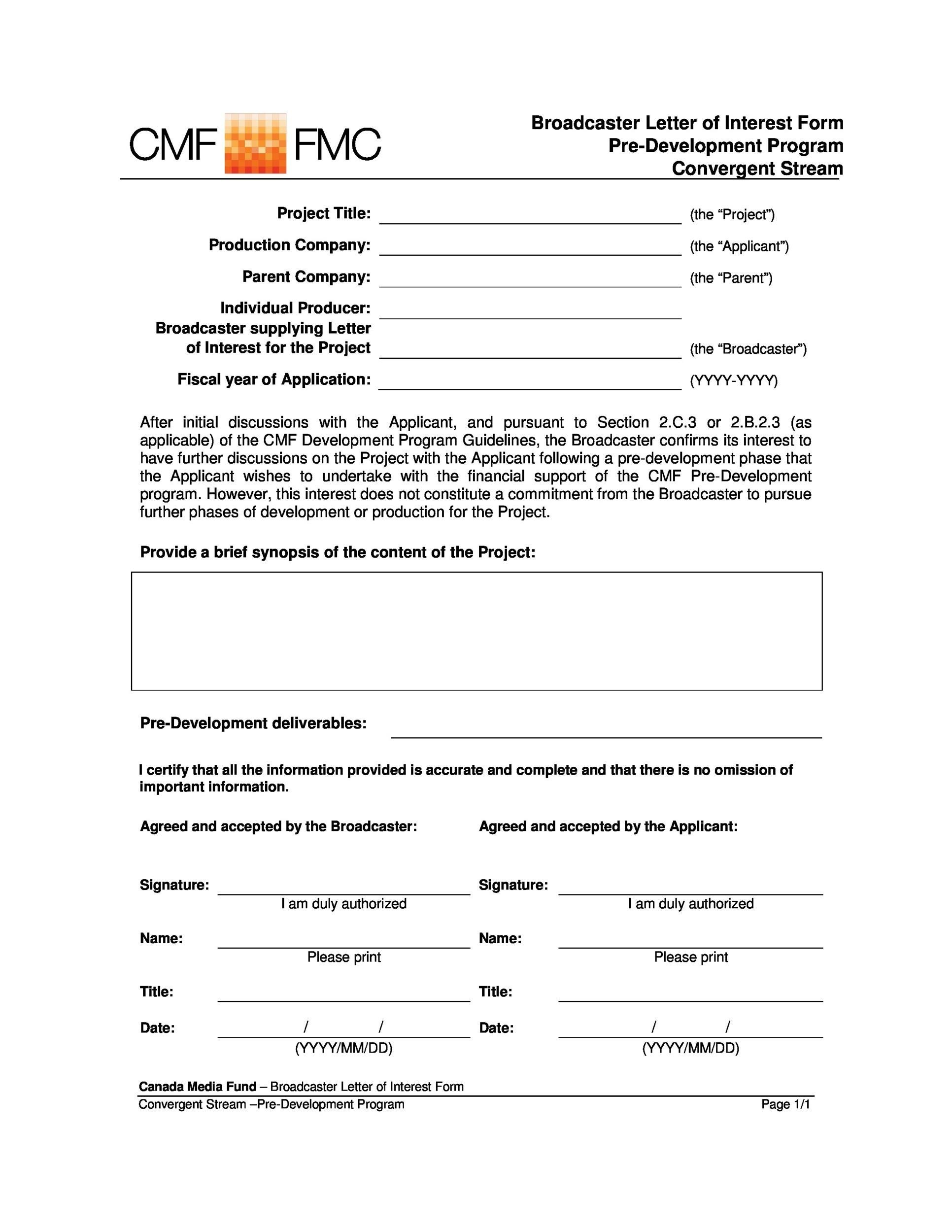 Free letter of interest 36
