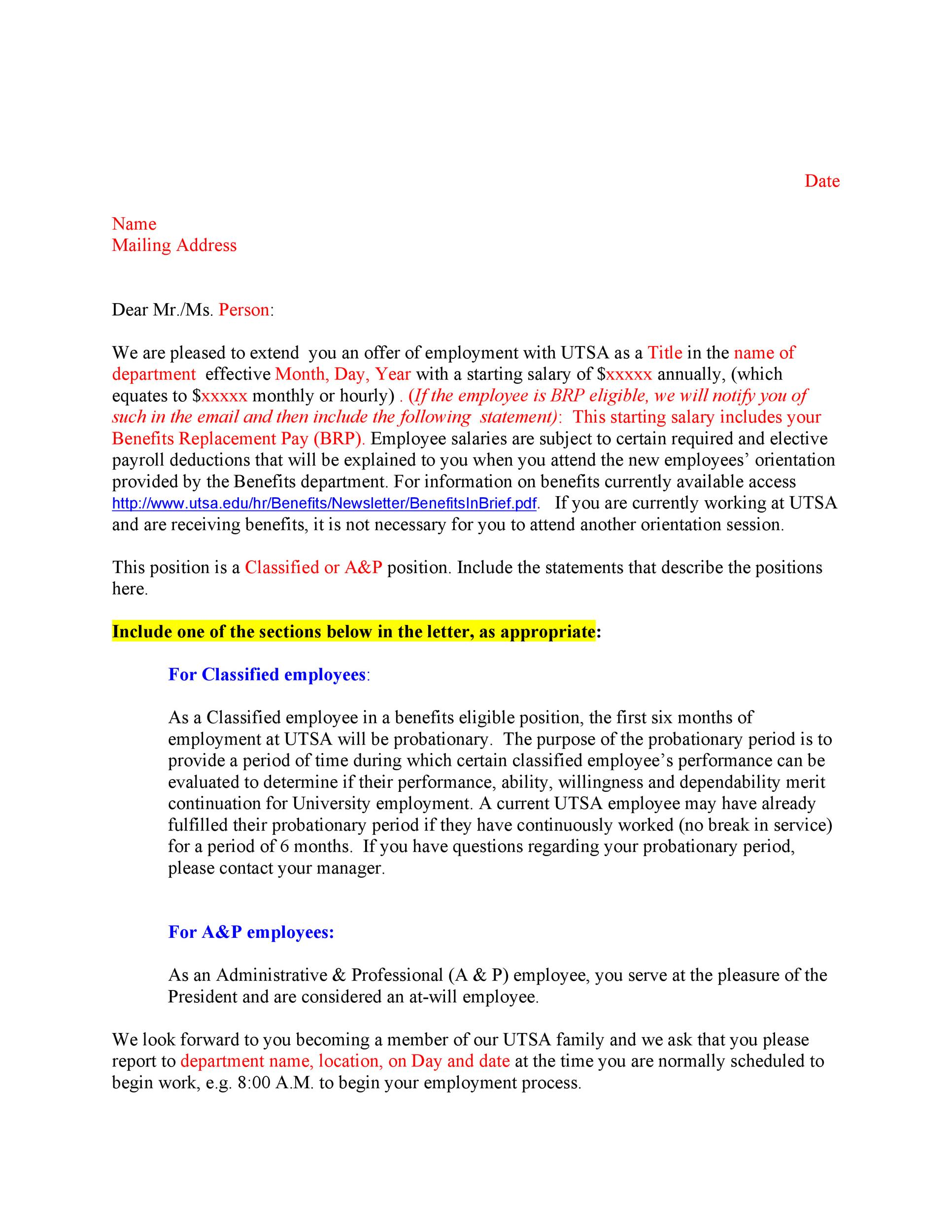 Stock options grant letter