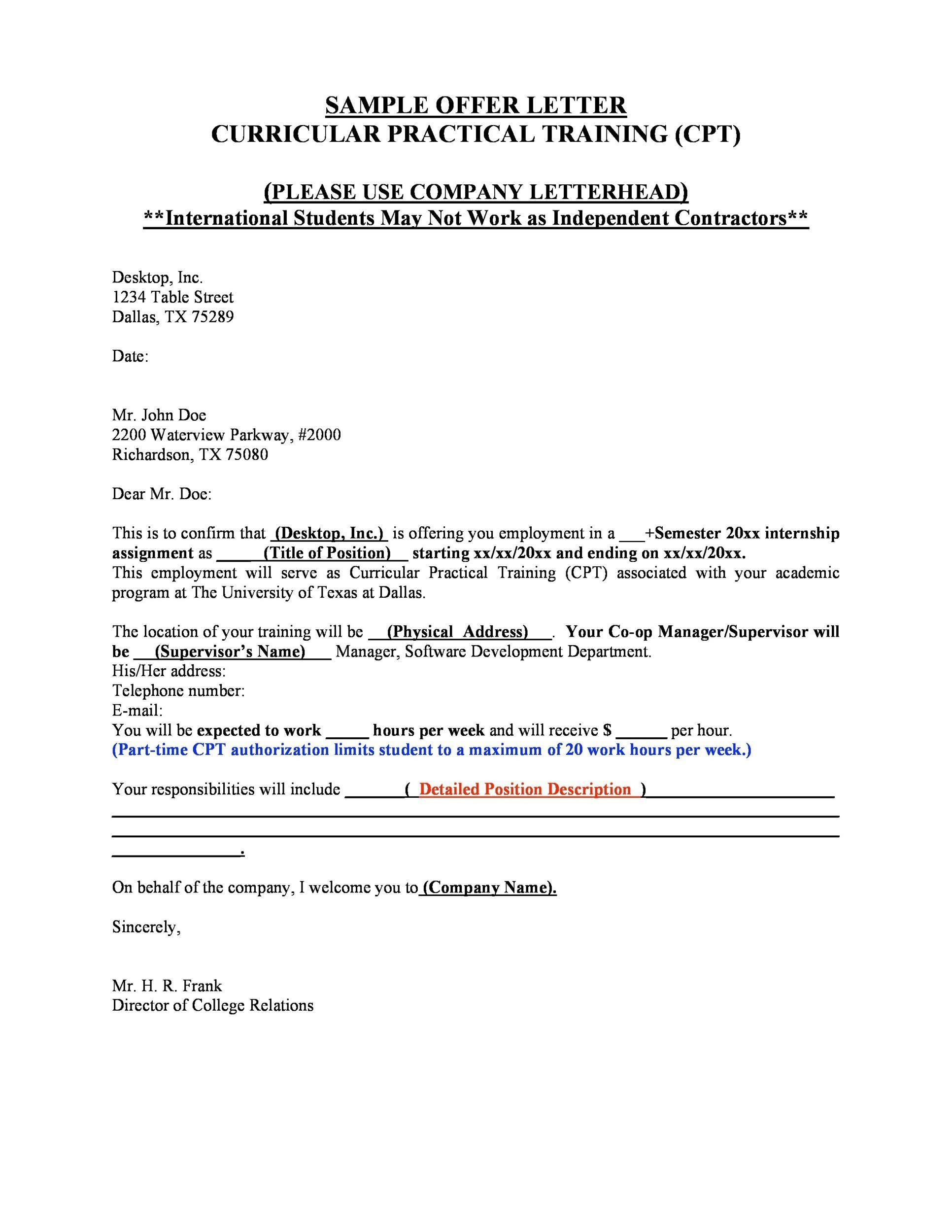 Free Offer letter 14