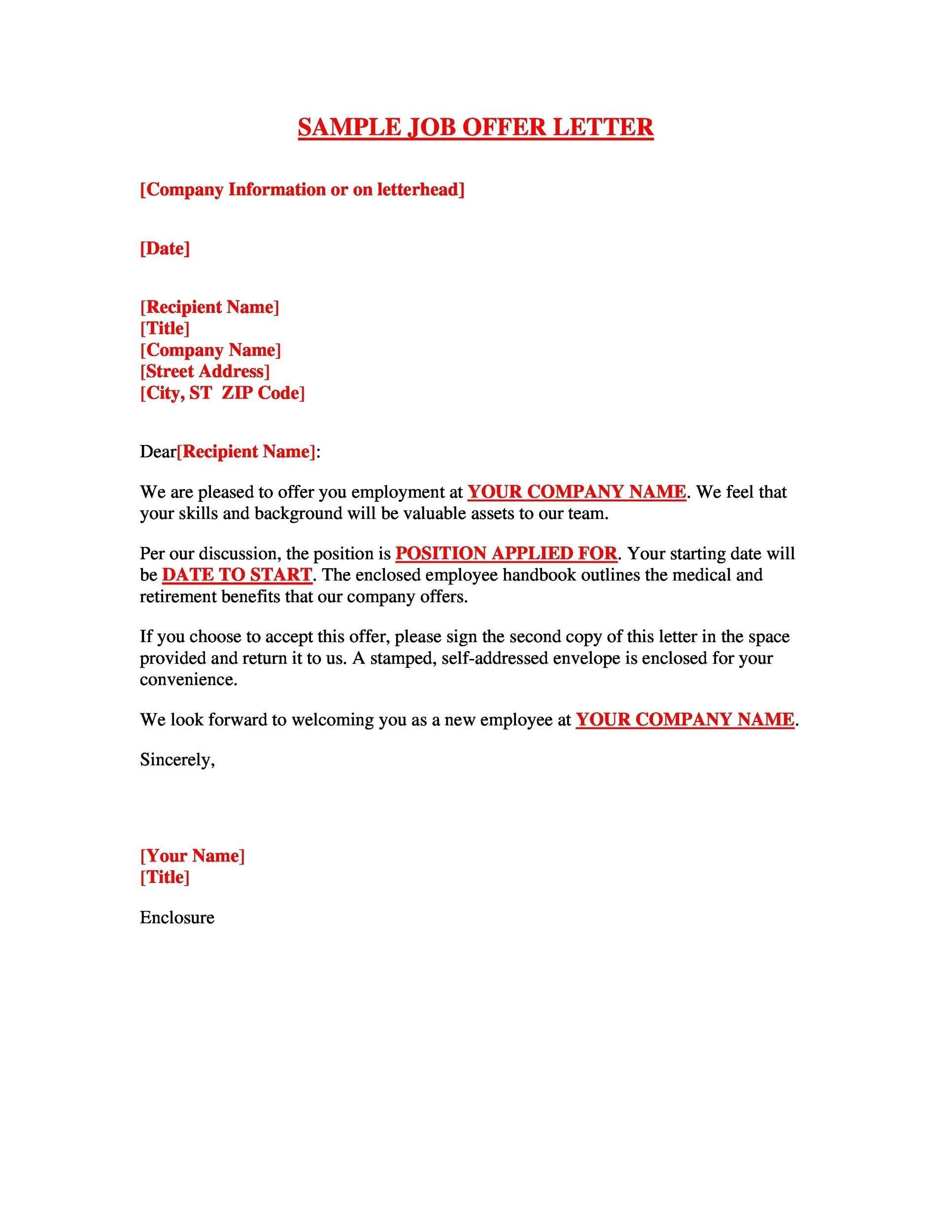 Free Offer letter 18