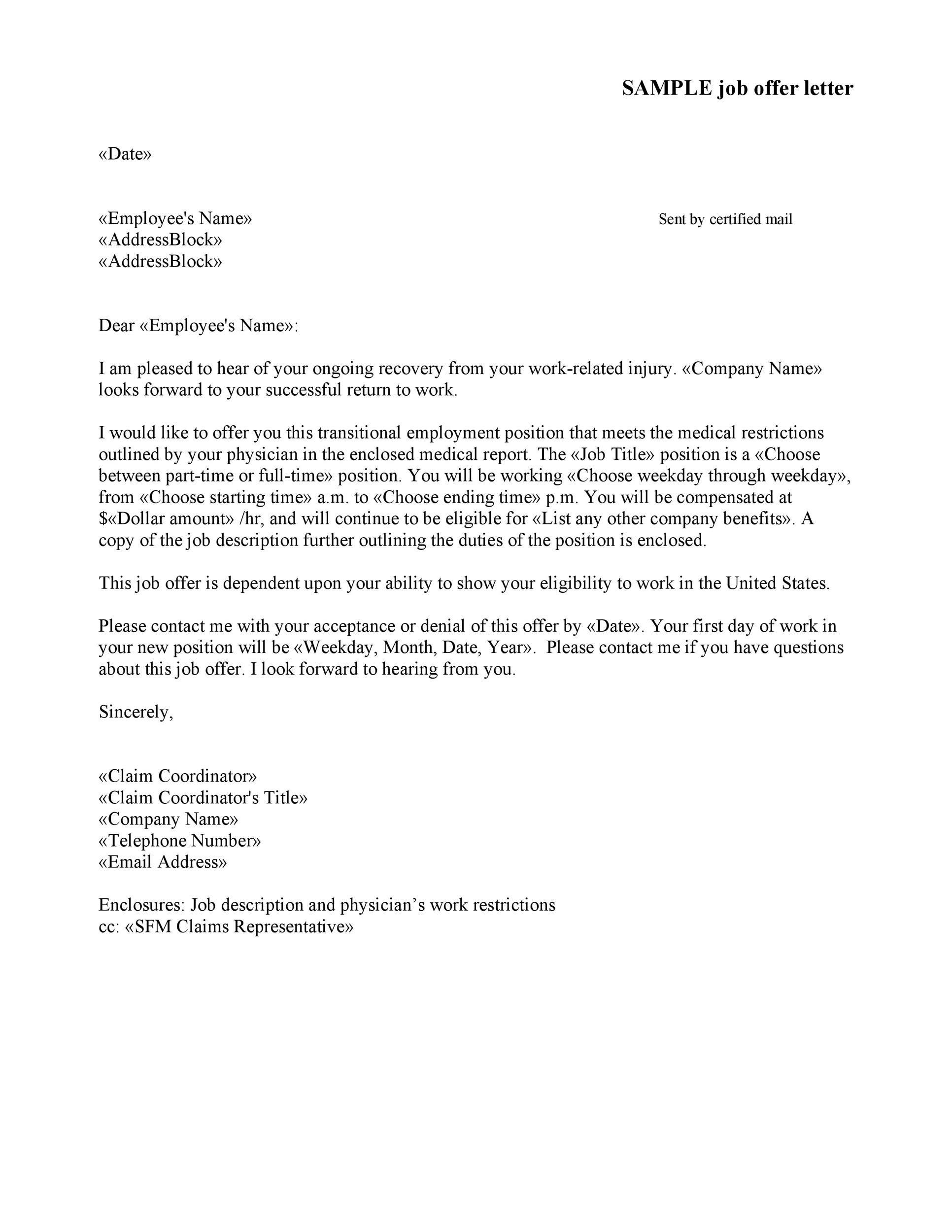 Free Offer letter 19