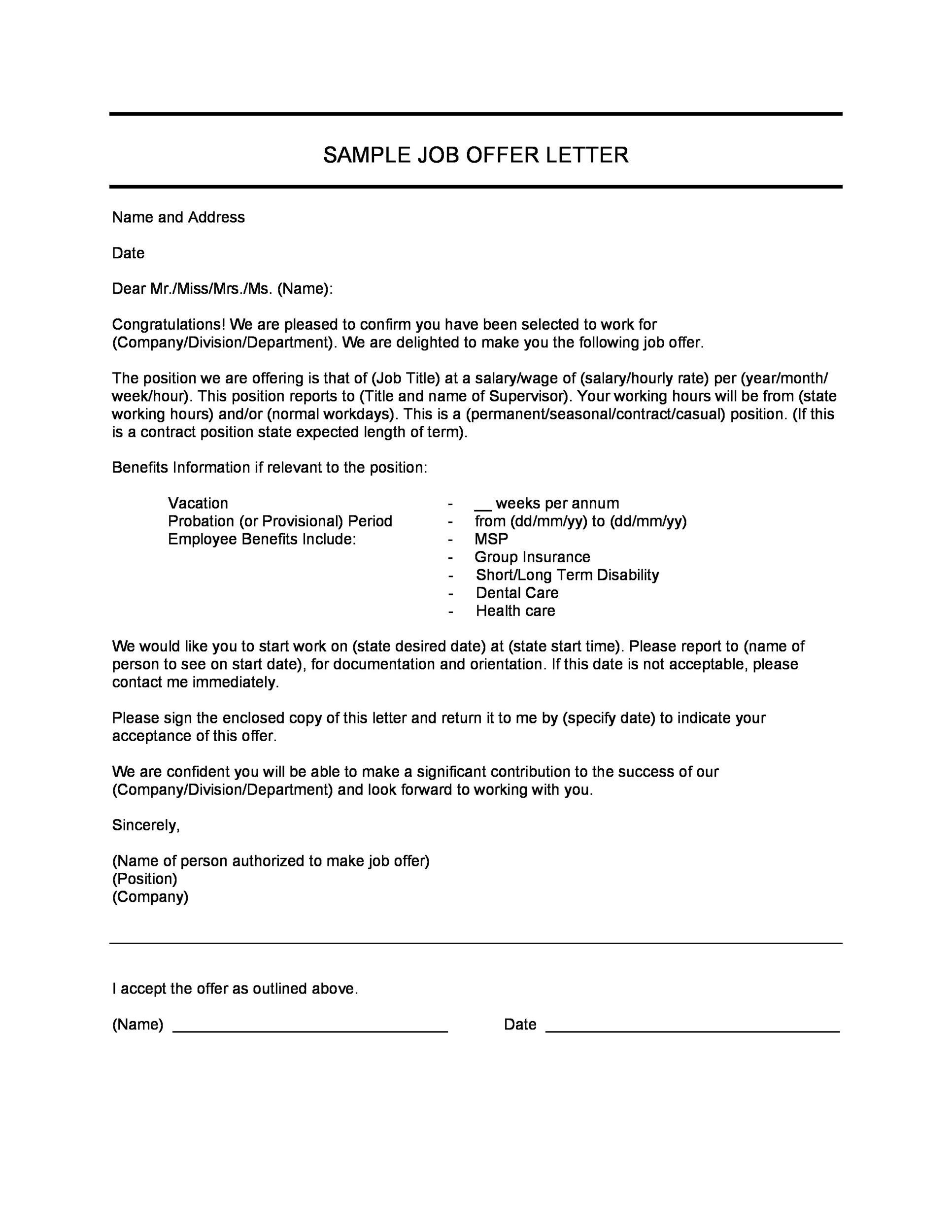 bank job offer letter sample