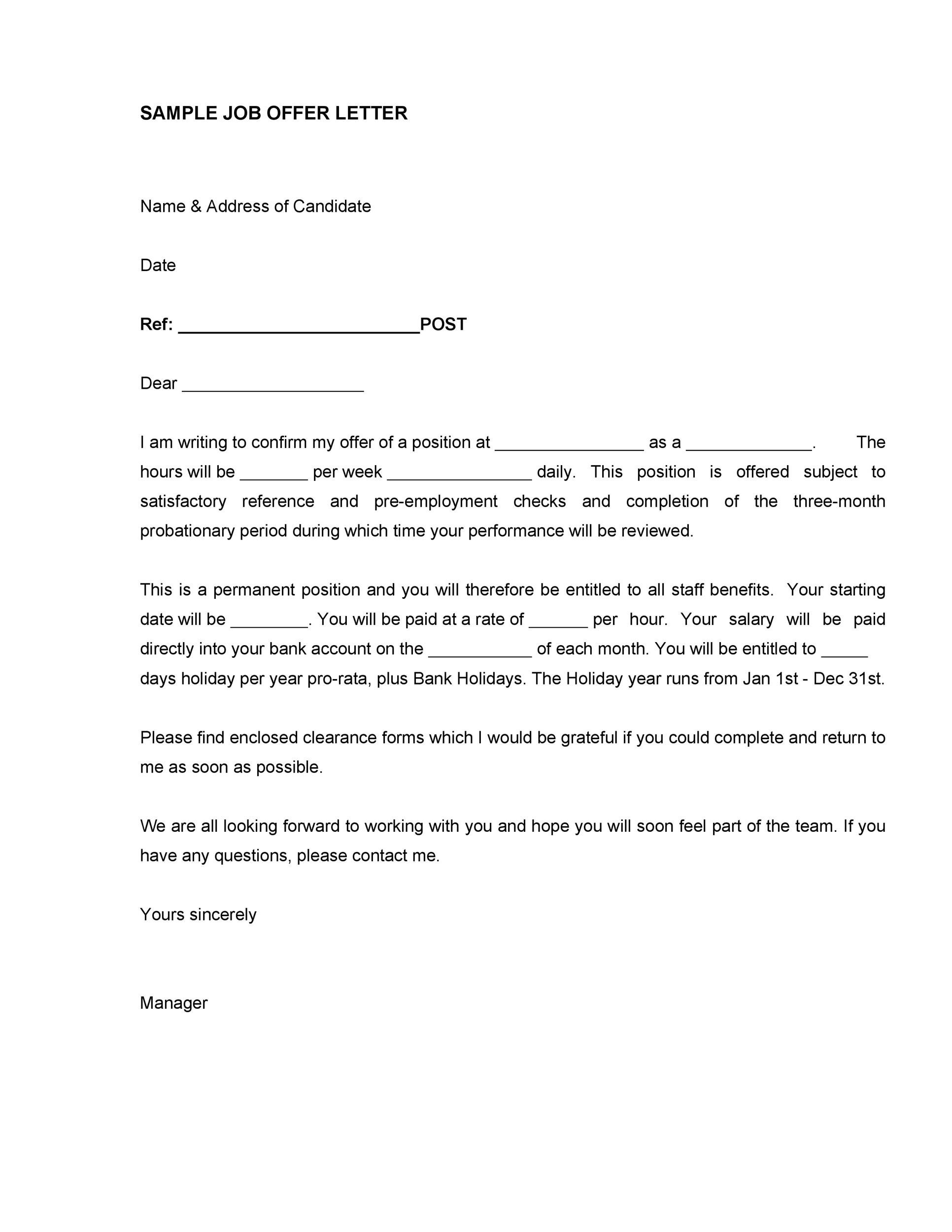Job Offer Letter Sample Fantastic Offer Letter Templates Employment