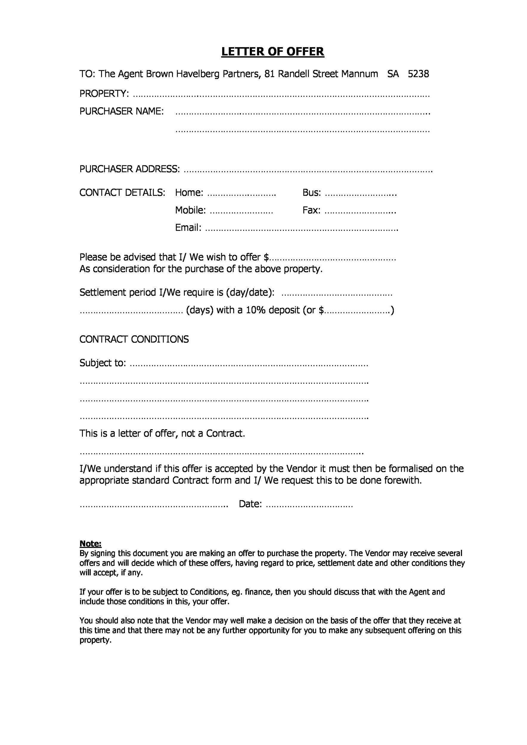 Free Offer letter 25