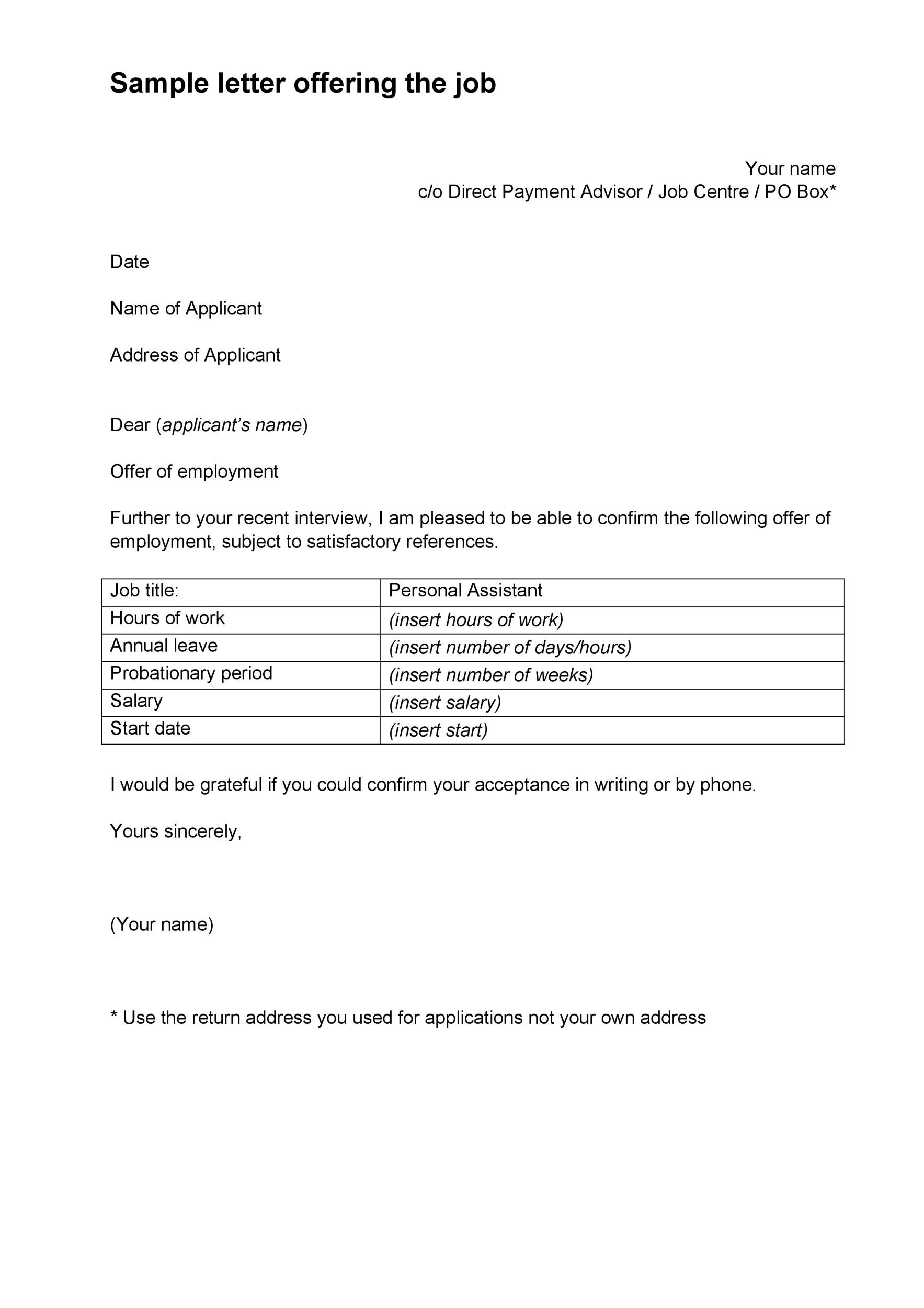 salary offer letter template   Nadi.palmex.co