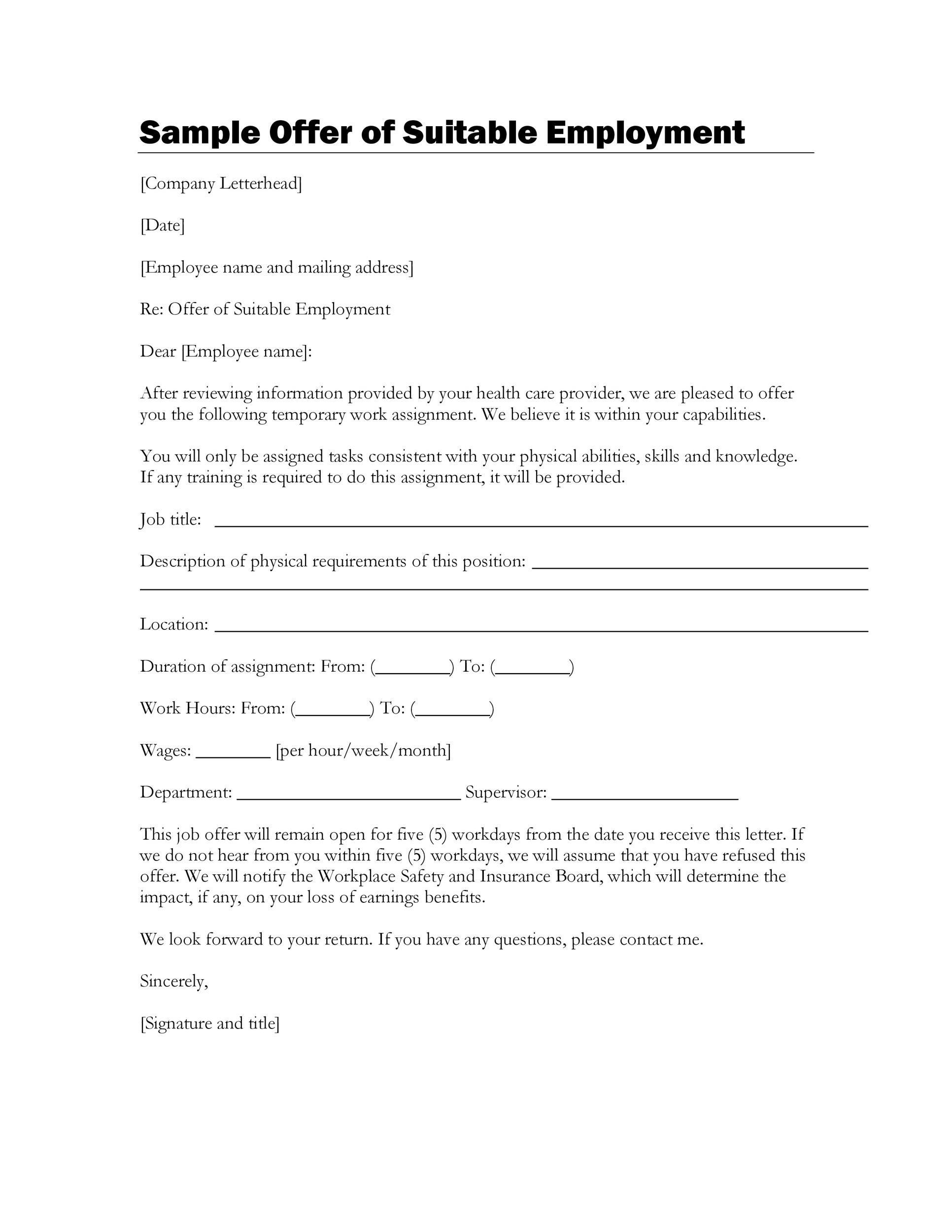Free Offer letter 40