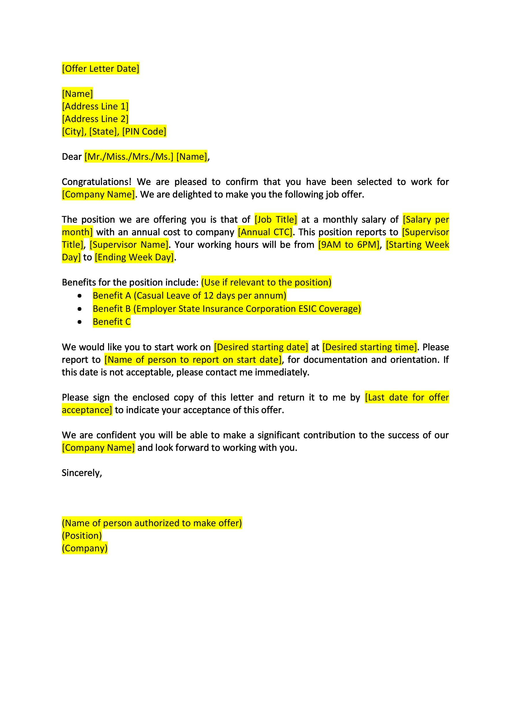 44 Fantastic Offer Letter Templates [Employment / Counter Offer / Job]