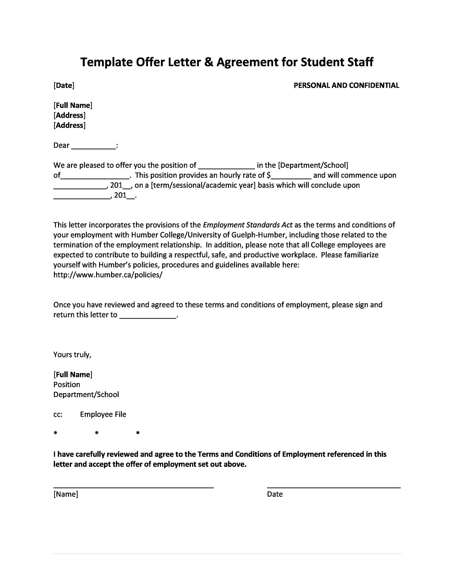 Fantastic Offer Letter Templates Employment  Counter Offer  Job
