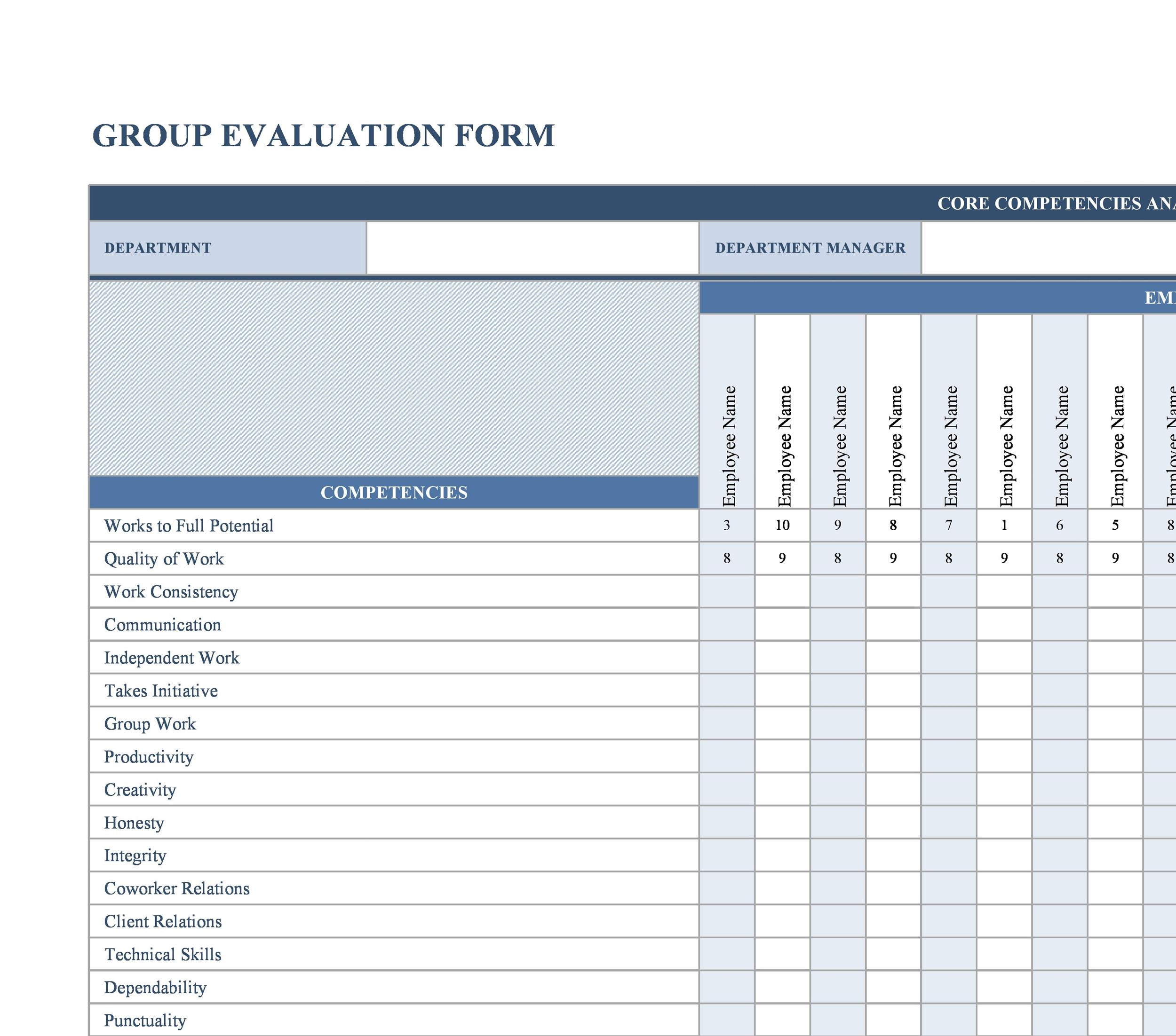 image regarding Free Employee Evaluation Forms Printable titled 46 Staff Assessment Sorts Functionality Critique Illustrations