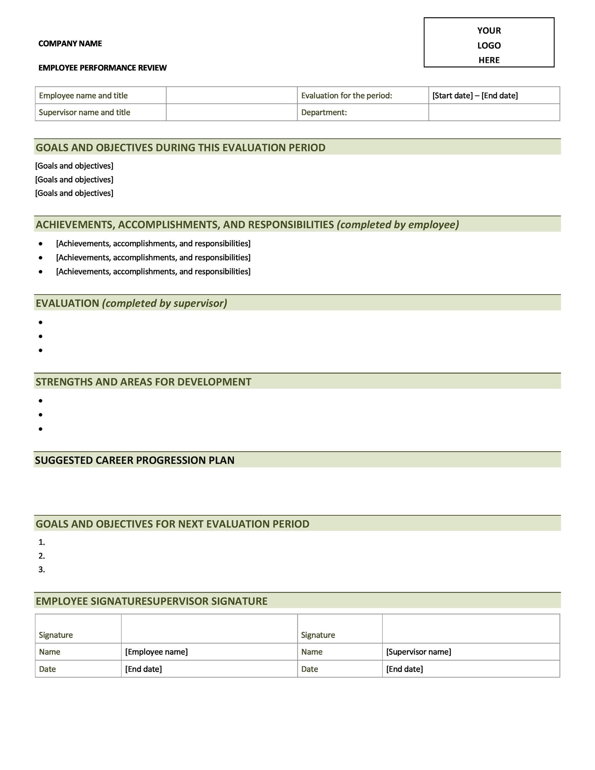 46 employee evaluation forms performance review examples for Quarterly employee review template