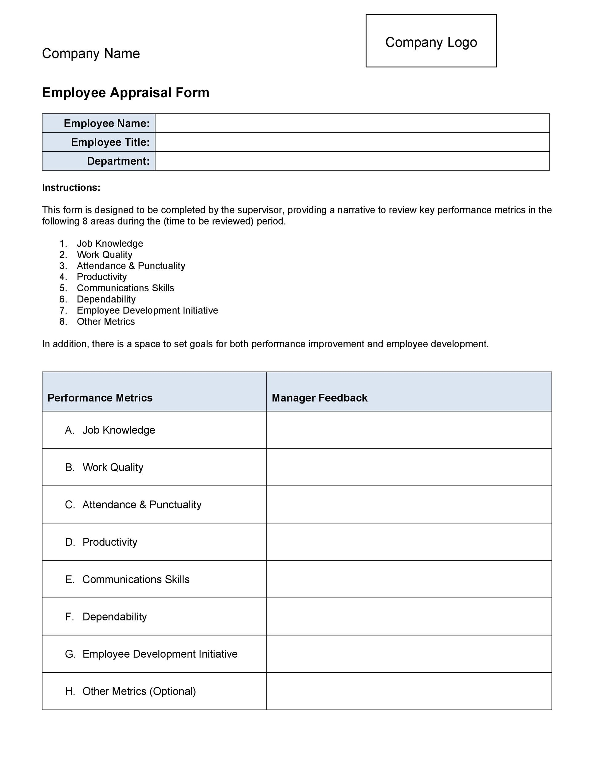 Printable Performance Review Examples 21  Employee Appraisal Form Sample