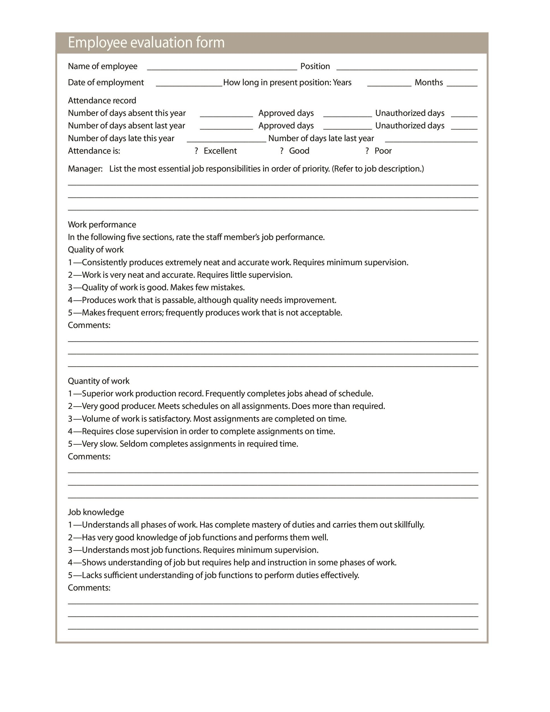 performance appraisal form Yes, our generic employee evaluation form is essentially the same thing as an employee performance review form, a job performance evaluation form, an employee assessment form, or an employee annual review form.