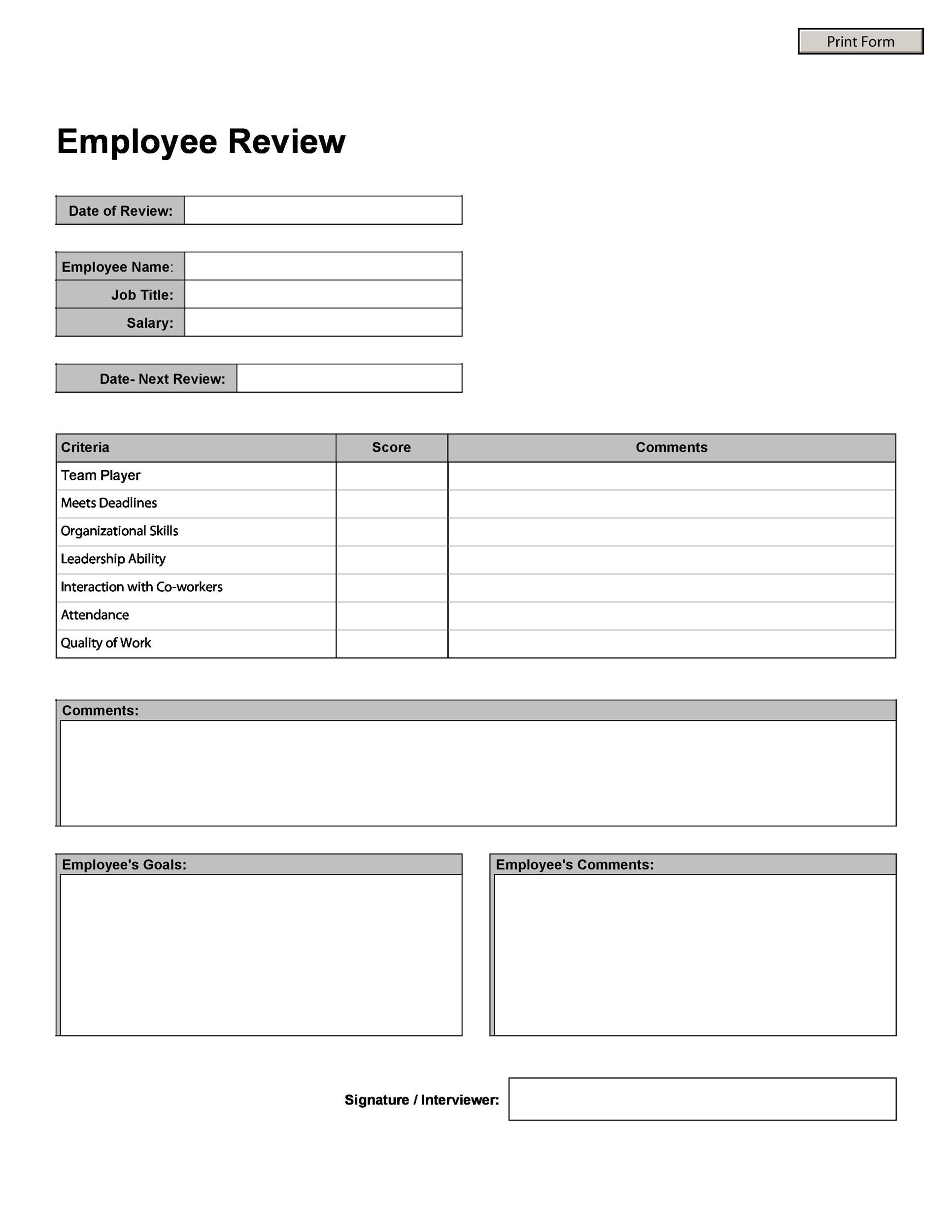 46 employee evaluation forms performance review examples for Yearly employee review template