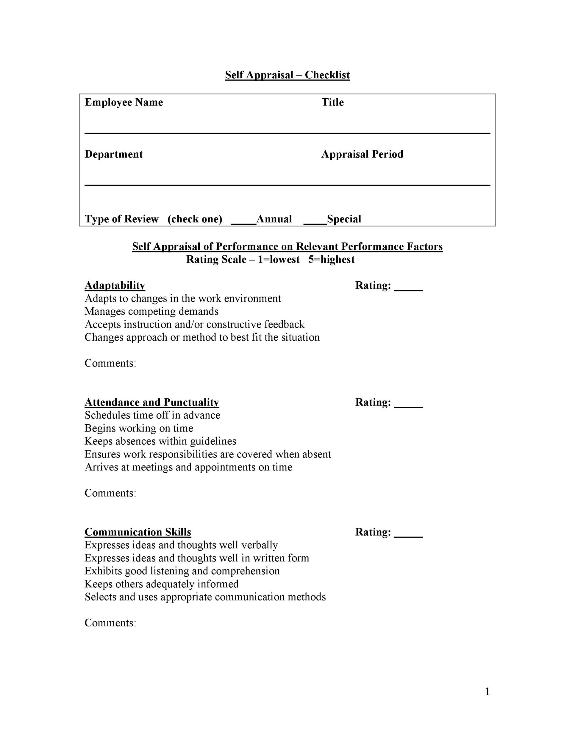 46 Employee Evaluation Forms Performance Review Examples – Self Performance Review Example