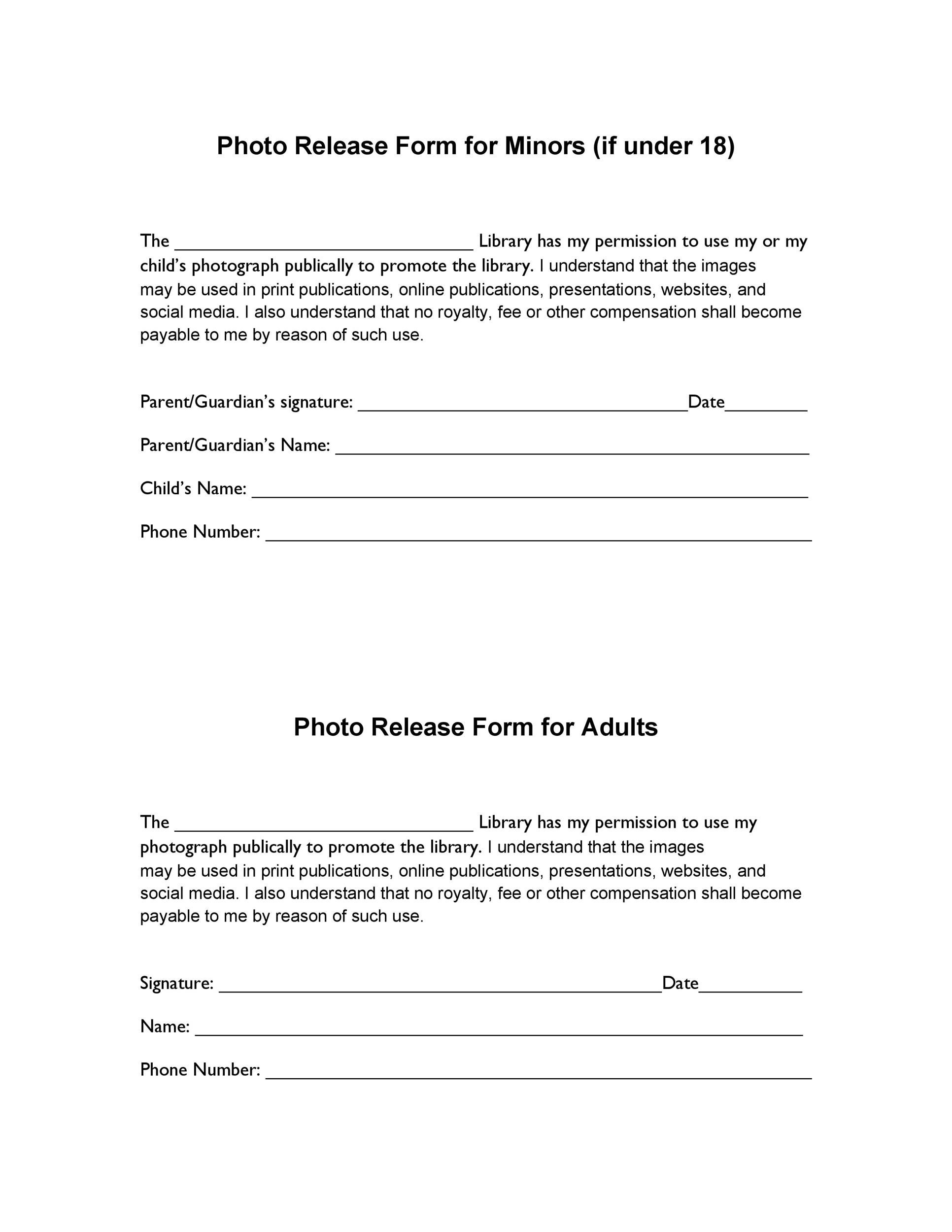 Printable Photo Release Form 04