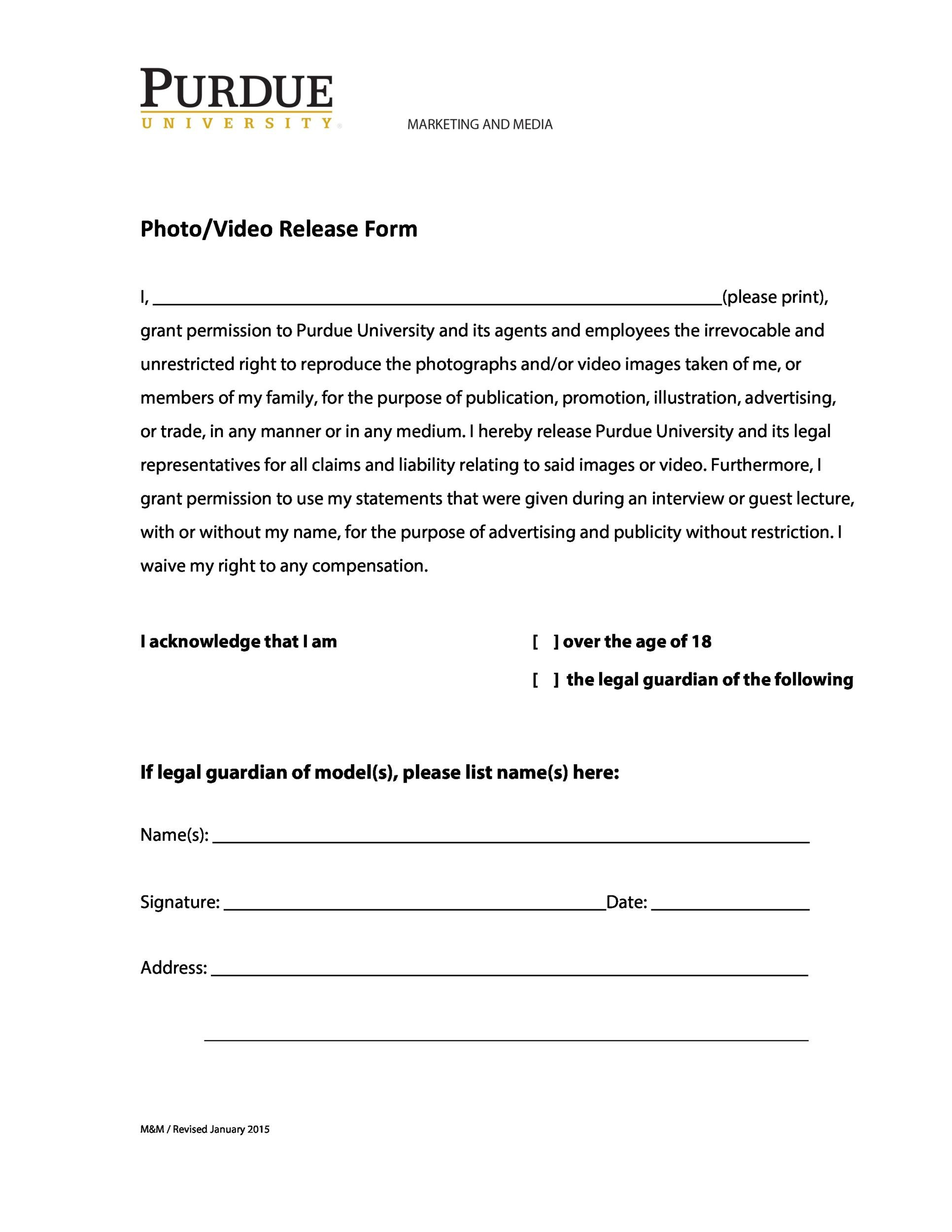 Free photo release form 11