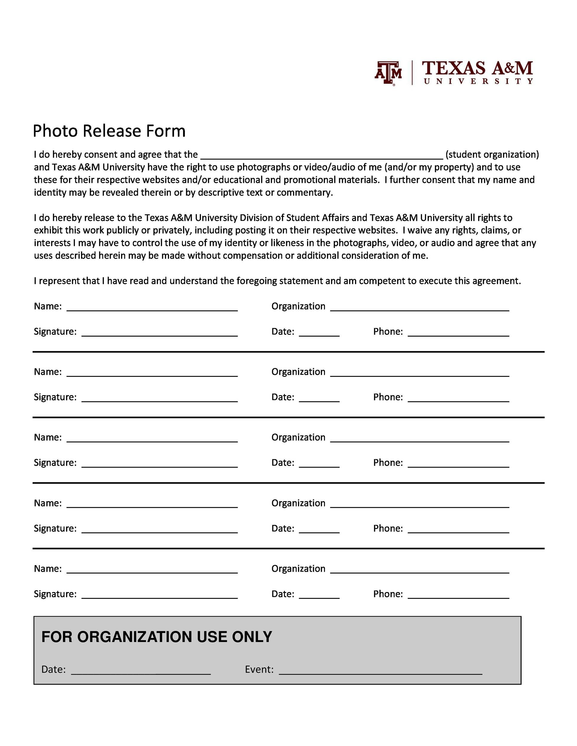 Photo Release Form Samples