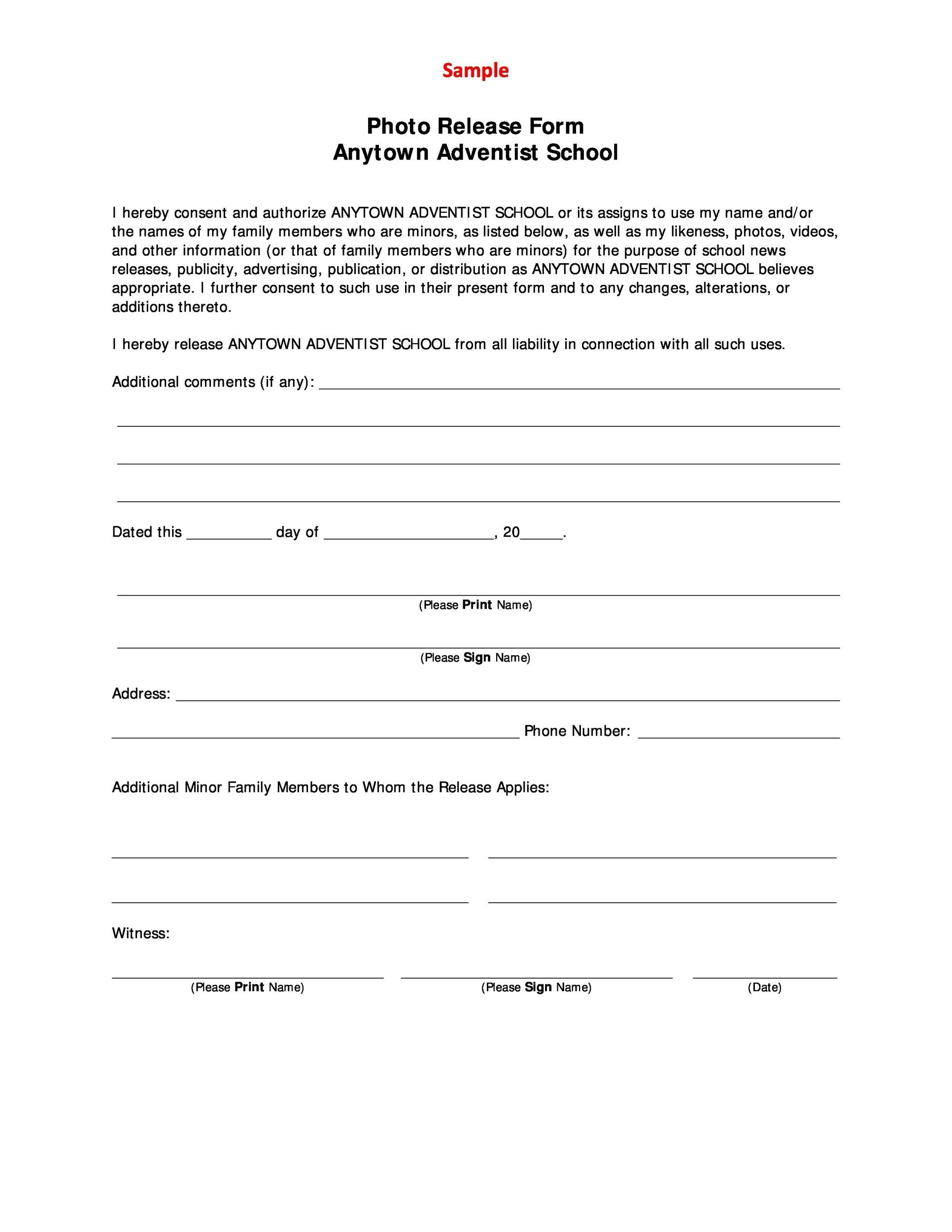 Free photo release form 15