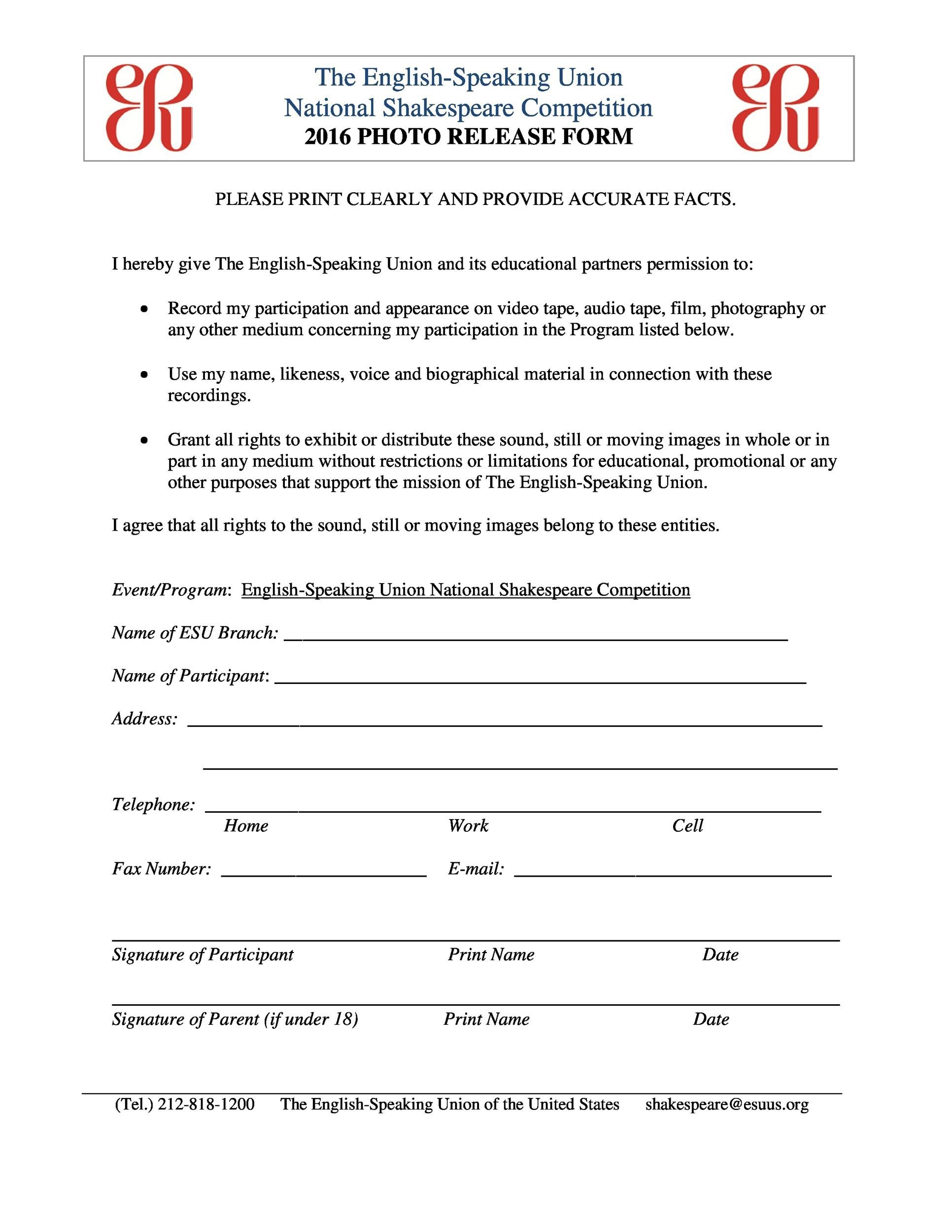 Free photo release form 20