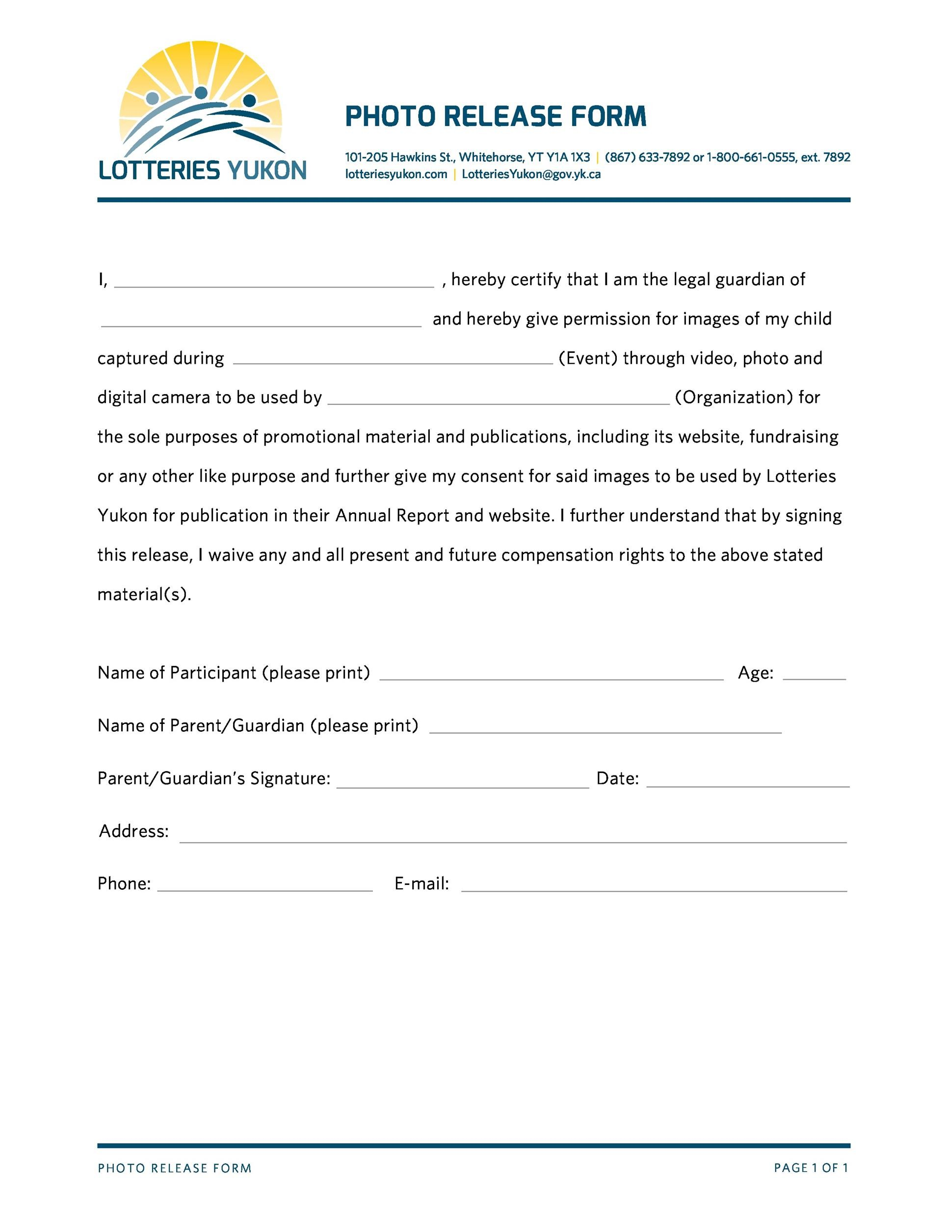 Printable Photo Release Form 21