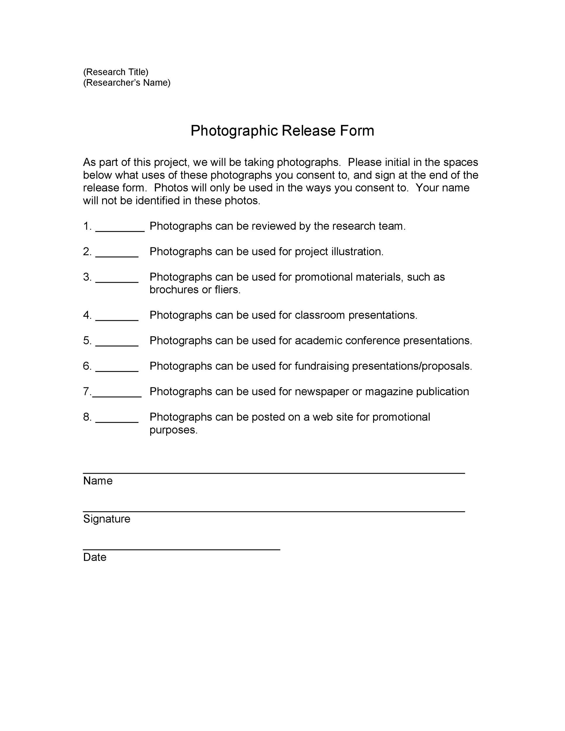 53 free photo release form templates word pdf for Standard model release form template