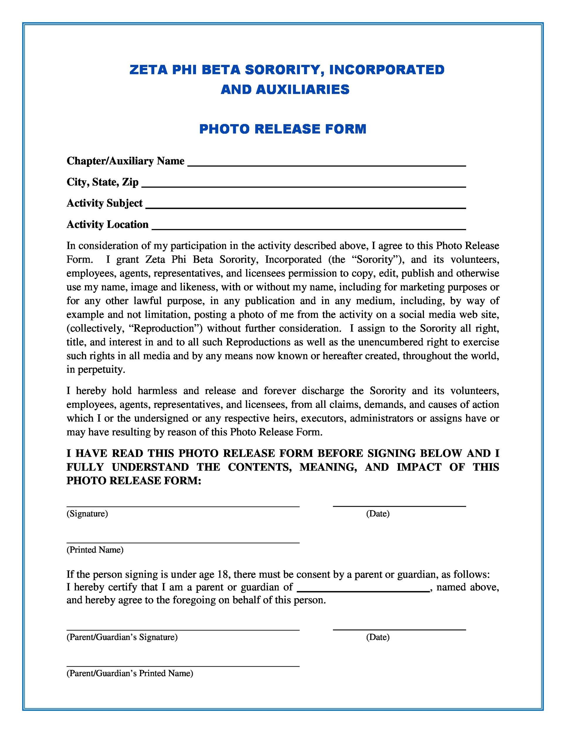 Free photo release form 27