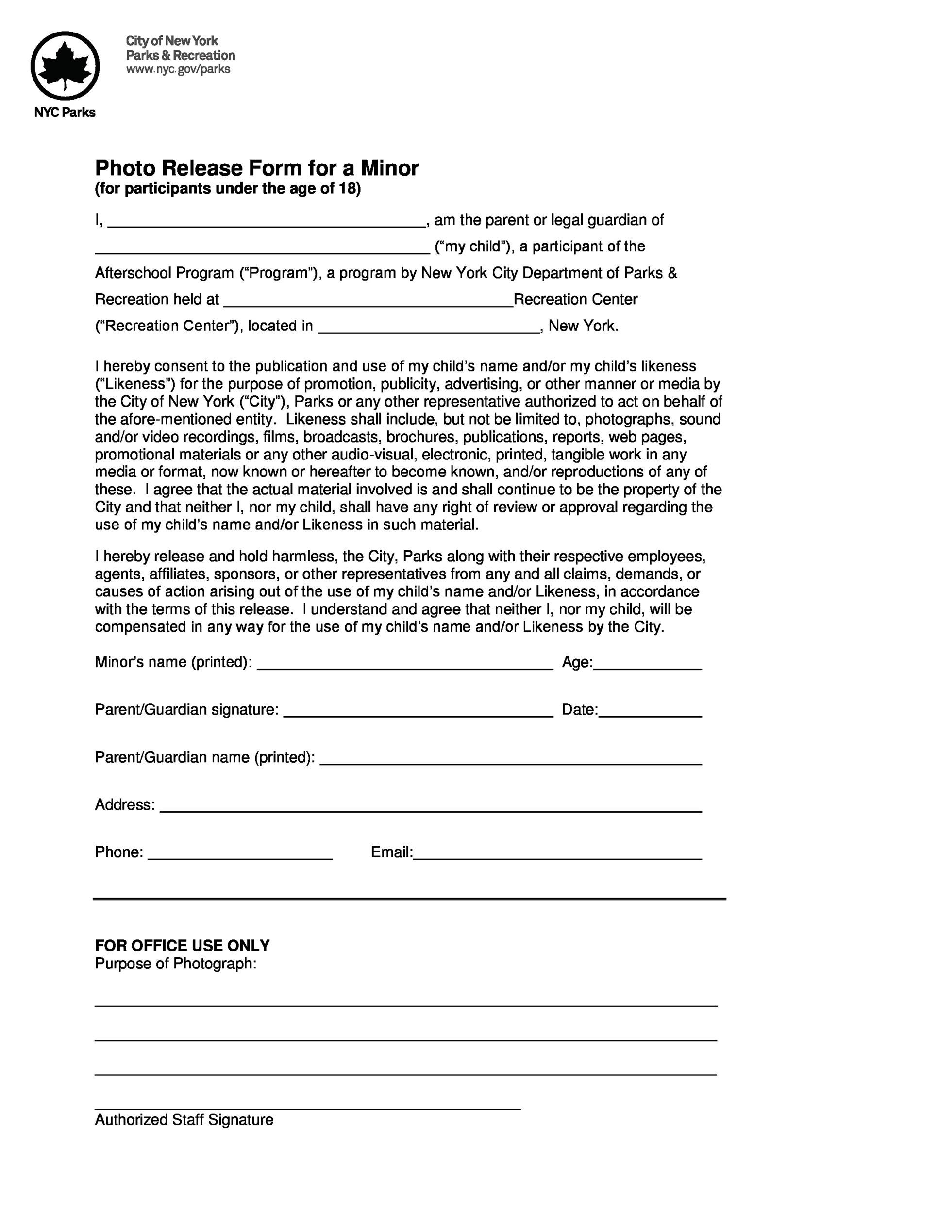 Free photo release form 30