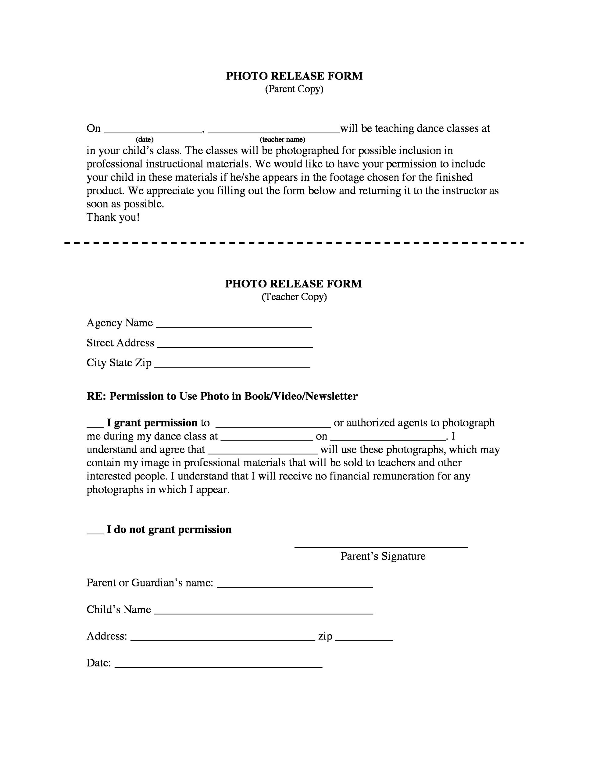 Printable Photo Release Form 31