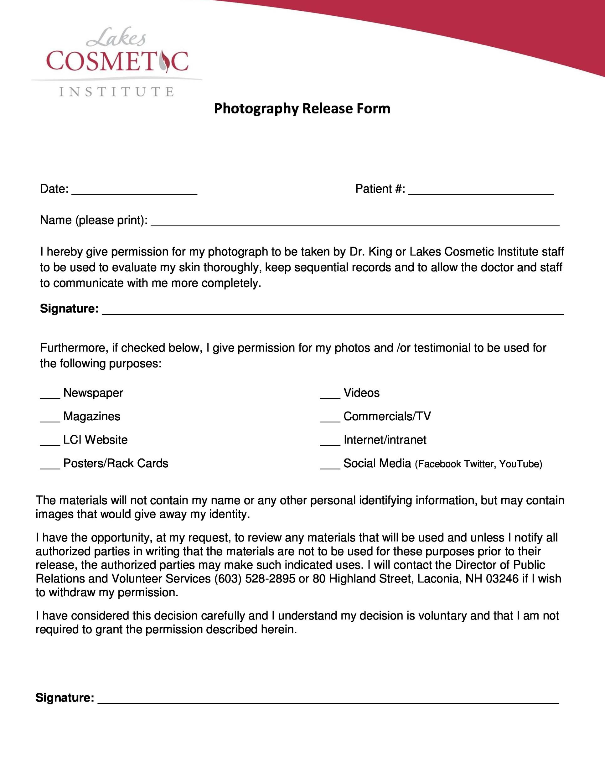 Free photo release form 50