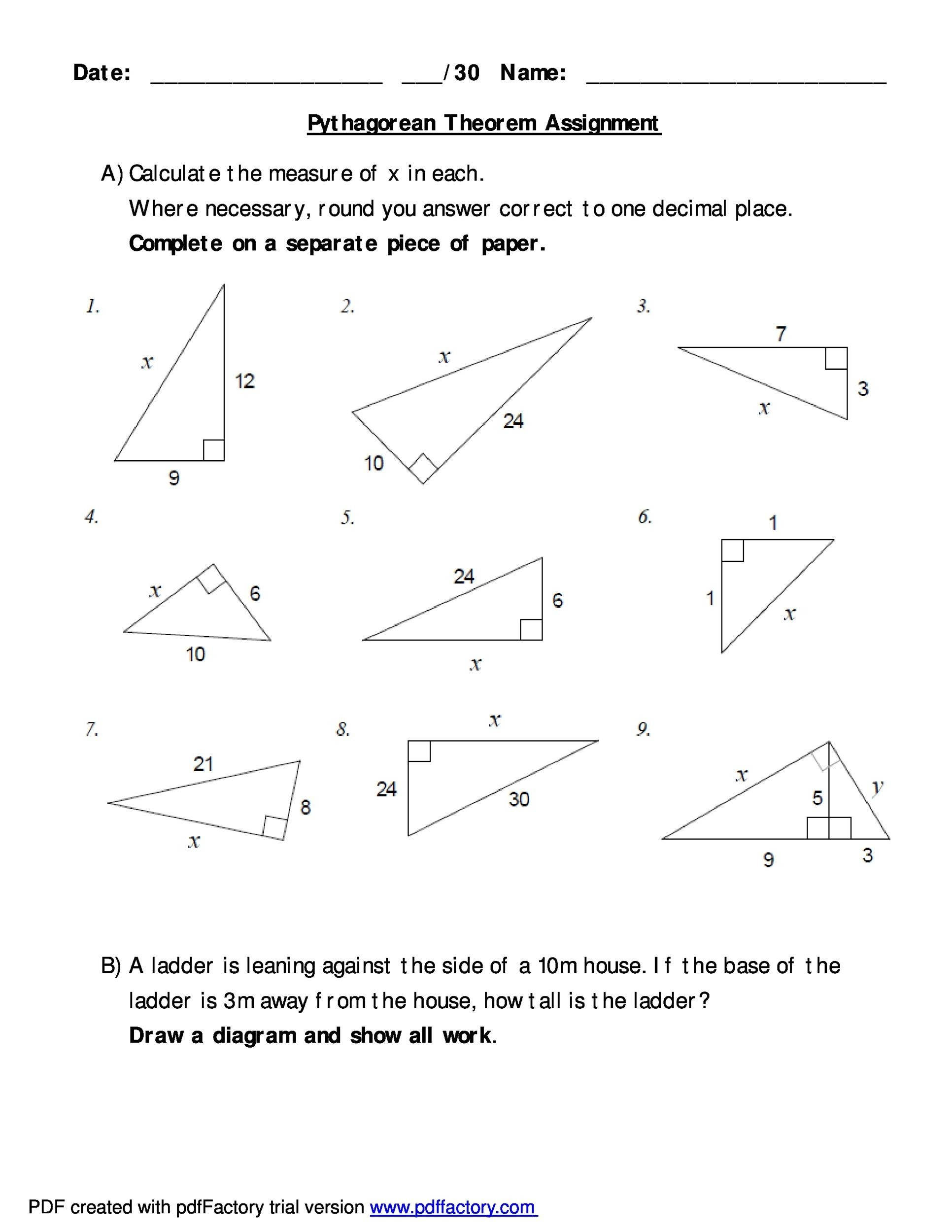 Worksheets Pythagorean Theorem Word Problems Worksheet 48 pythagorean theorem worksheet with answers word pdf free 03