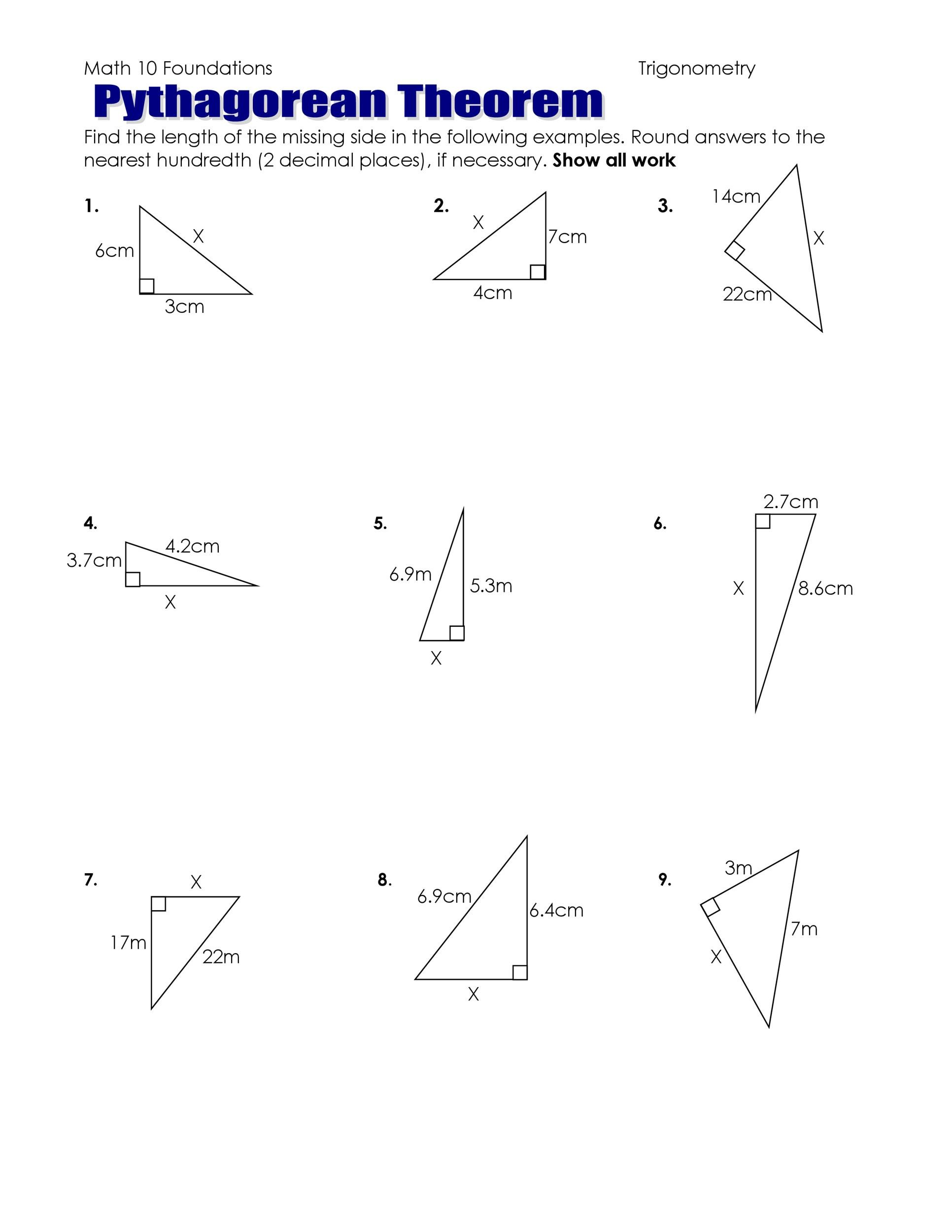 free worksheets pythagorean theorem worksheets free math worksheets for kidergarten and. Black Bedroom Furniture Sets. Home Design Ideas