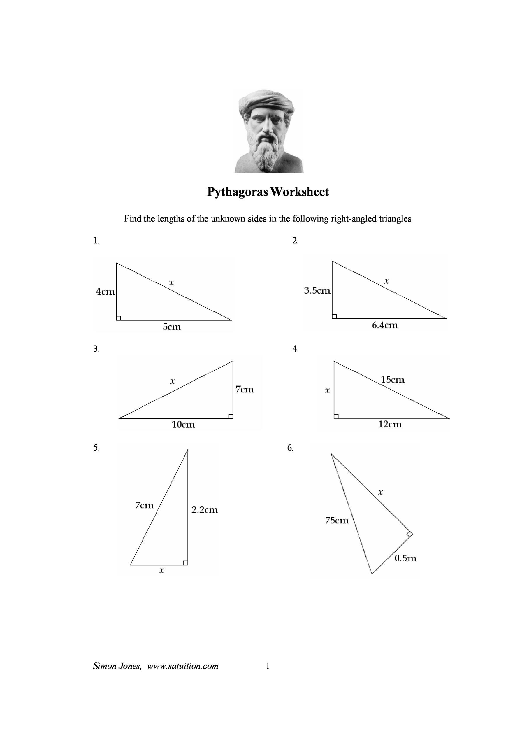 worksheet Easy Pythagorean Theorem Worksheet 48 pythagorean theorem worksheet with answers word pdf printable 09