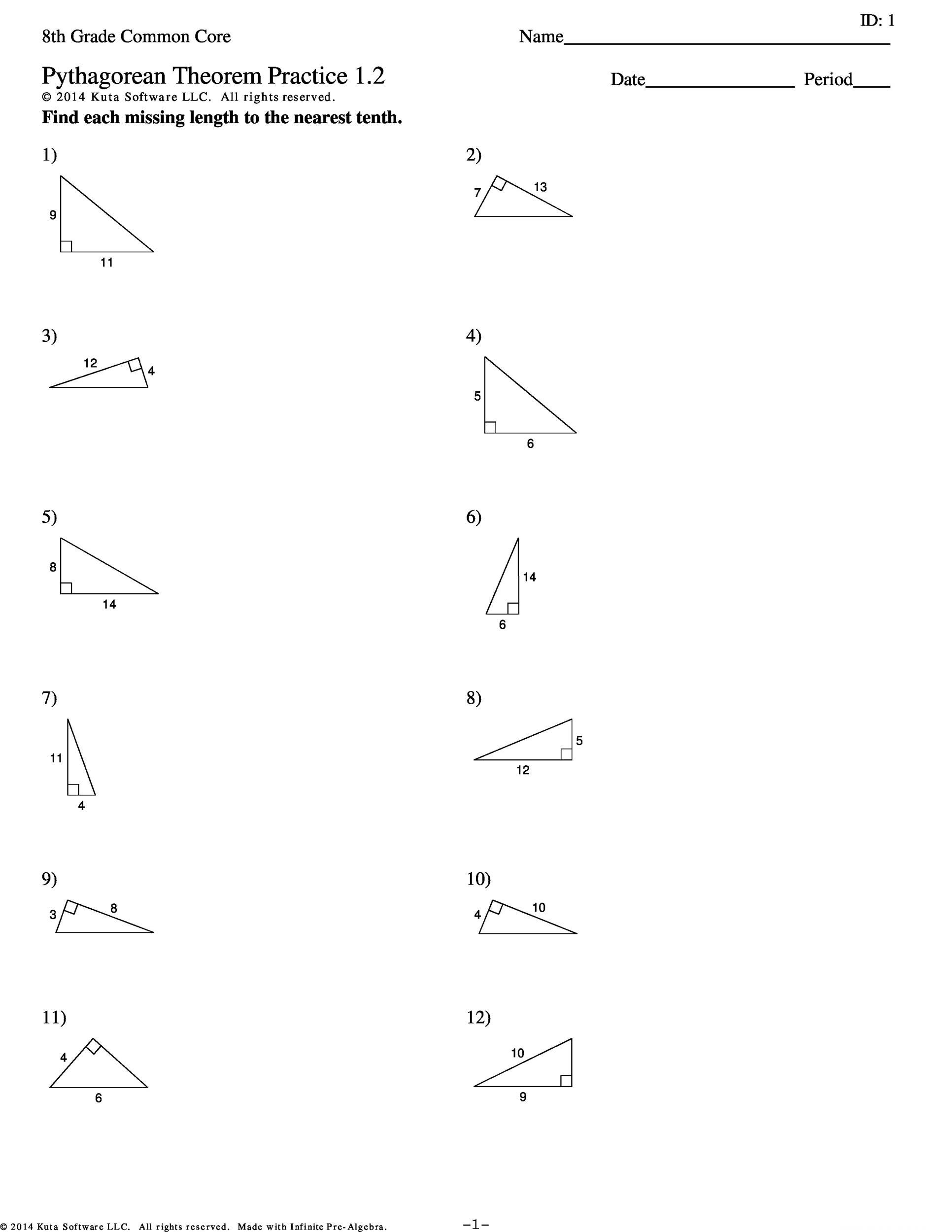 Pythagorean Theorem on multi step equations with fractions worksheet