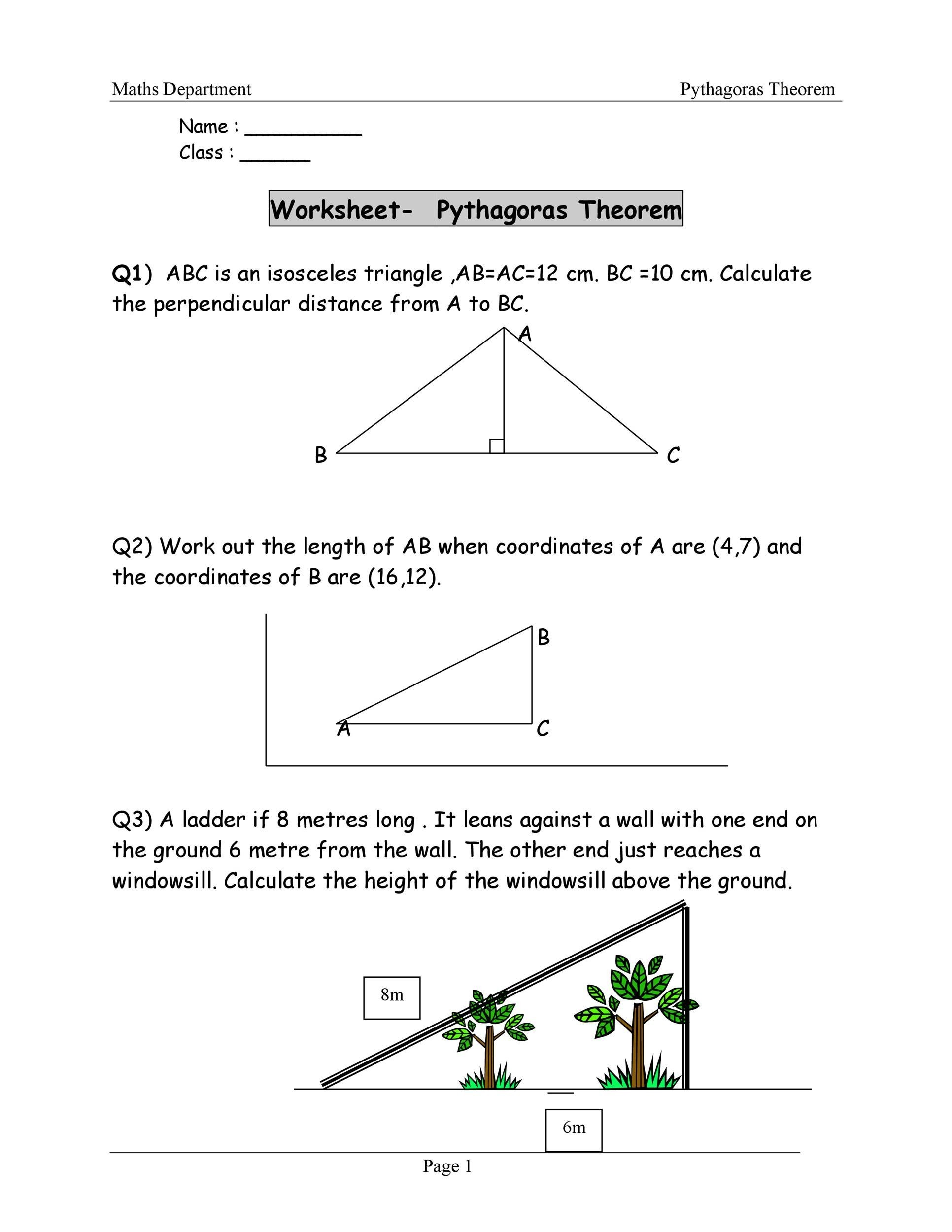 Pythagorean Theorem Word Problem Worksheet Free Worksheets Library ...