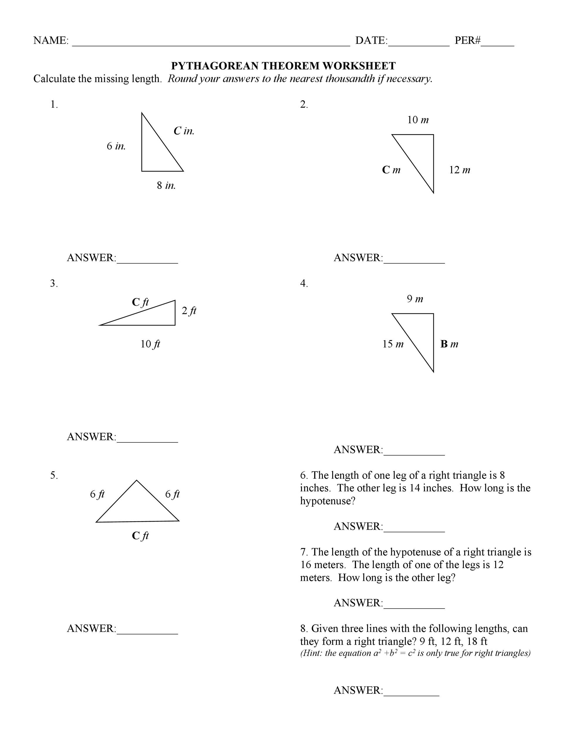 48 Pythagorean Theorem Worksheet with Answers Word PDF – Math Pythagorean Theorem Word Problems Worksheets