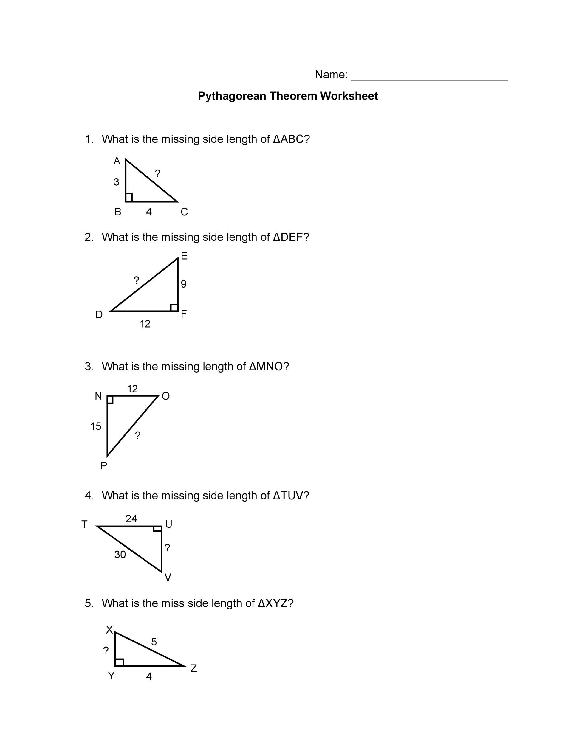 48 Pythagorean Theorem Worksheet with Answers Word PDF – Pythagorean Theorem Word Problems Worksheets