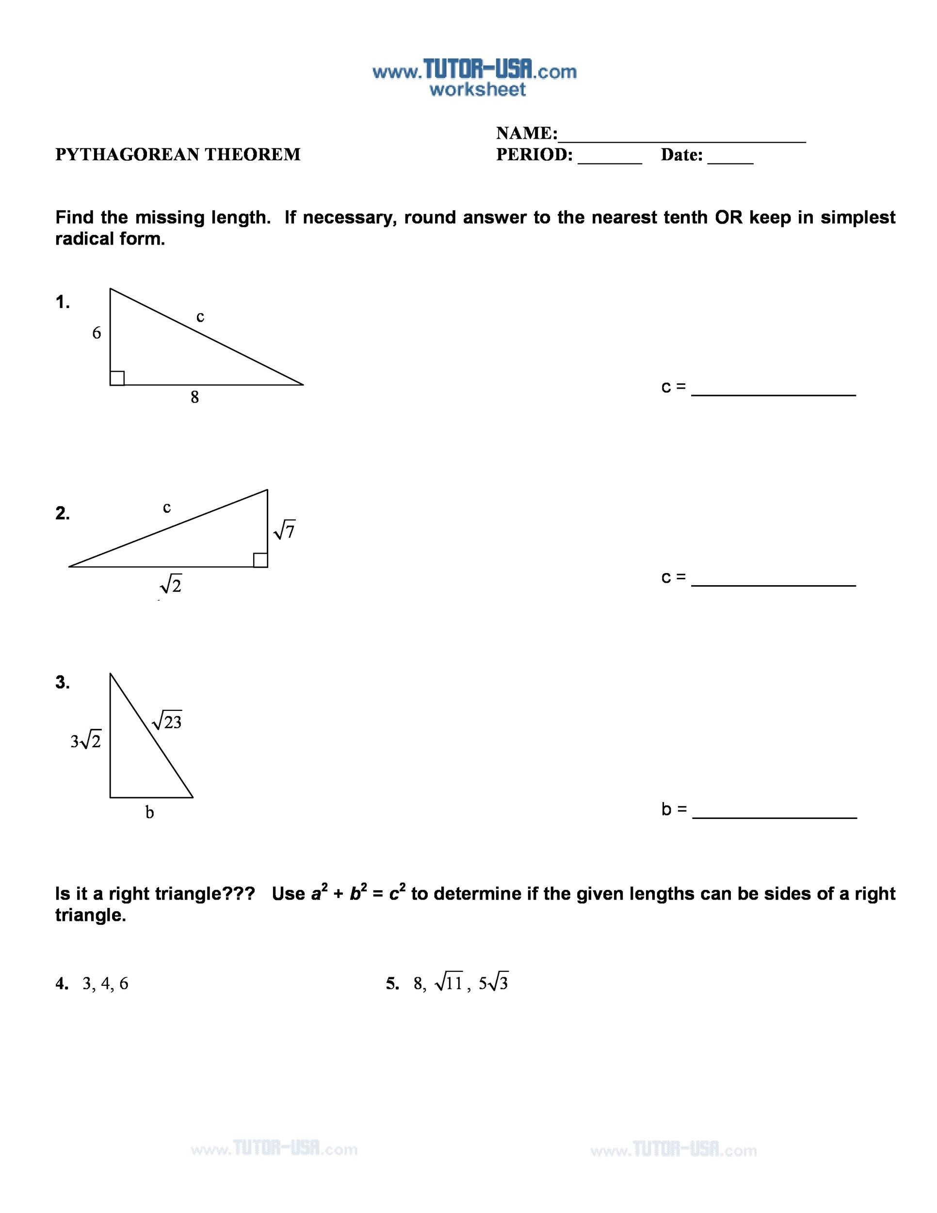 Free pythagorean theorem 40