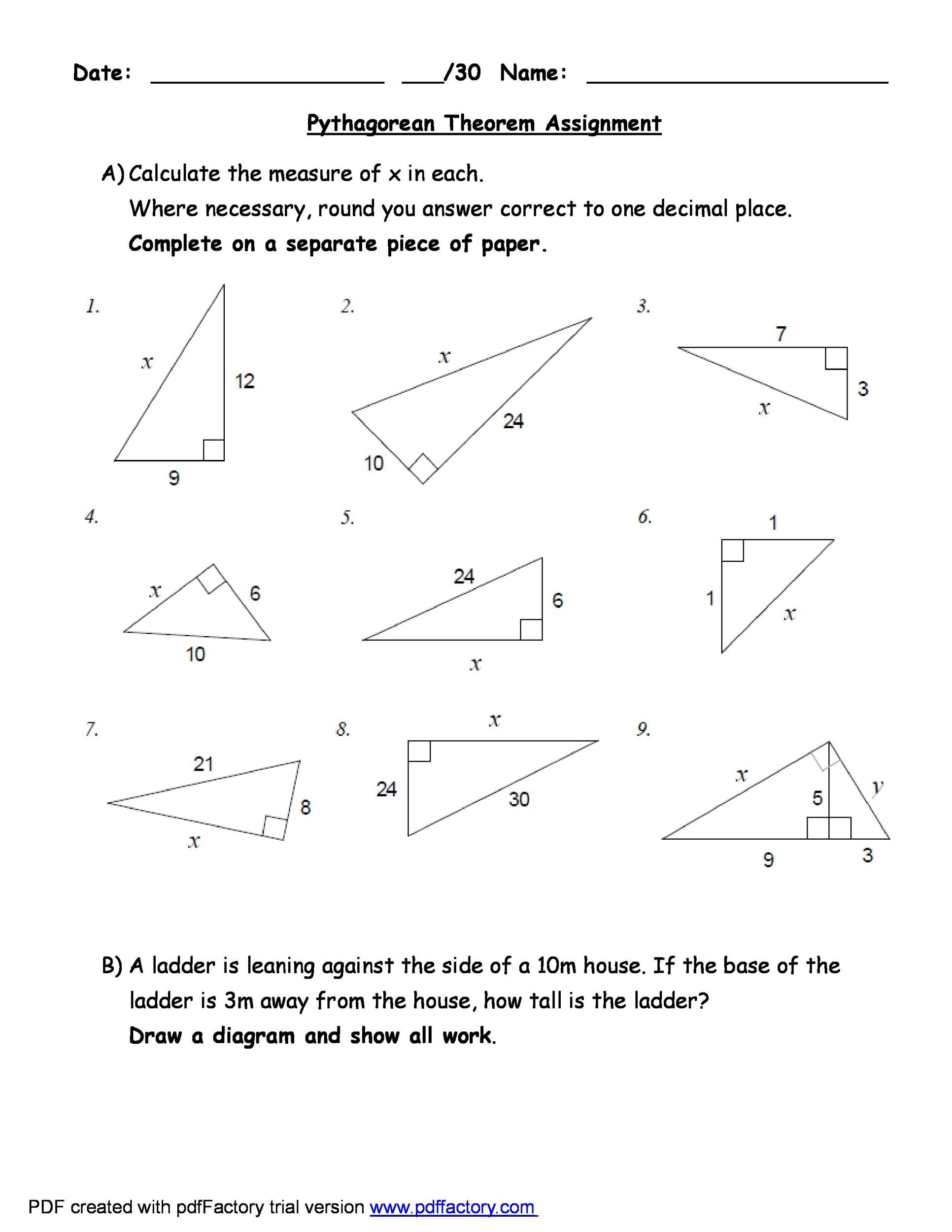 Worksheets Pythagorean Theorem Worksheet With Answers pythagorean theorem worksheet answers multiplying mixed numbers 48 template lab 2 answers