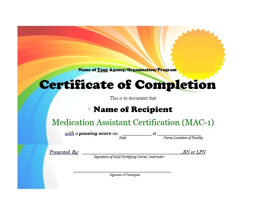 Free Certificate of Completion Template 01
