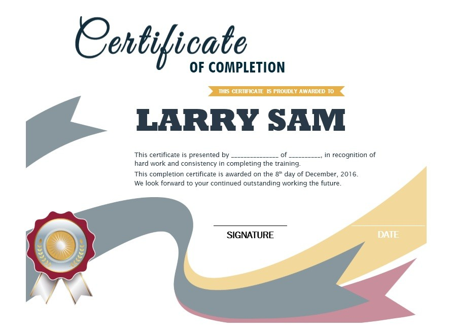 Certificate of Completion Template 02