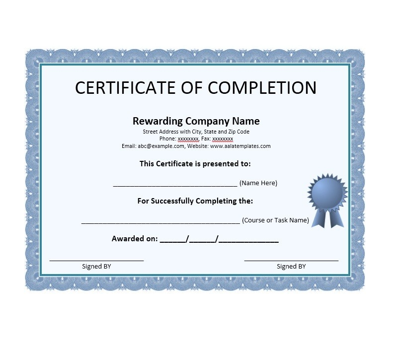 Charming Printable Certificate Of Completion Template 04 Intended For Printable Certificates Of Completion