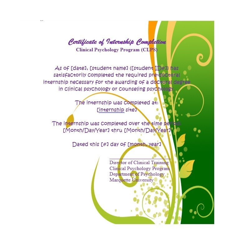 Free Certificate of Completion Template 07