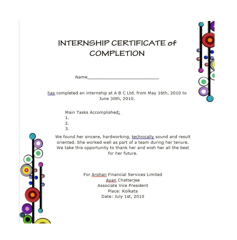 Certificate of Completion Template 08
