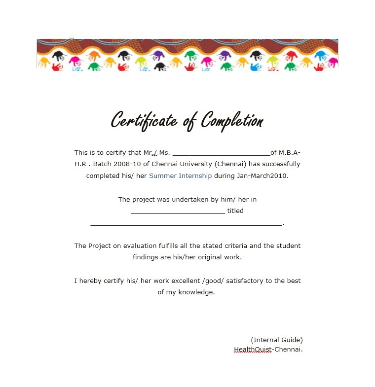 Certificate Of Completion Template Word  CanelovssmithliveCo