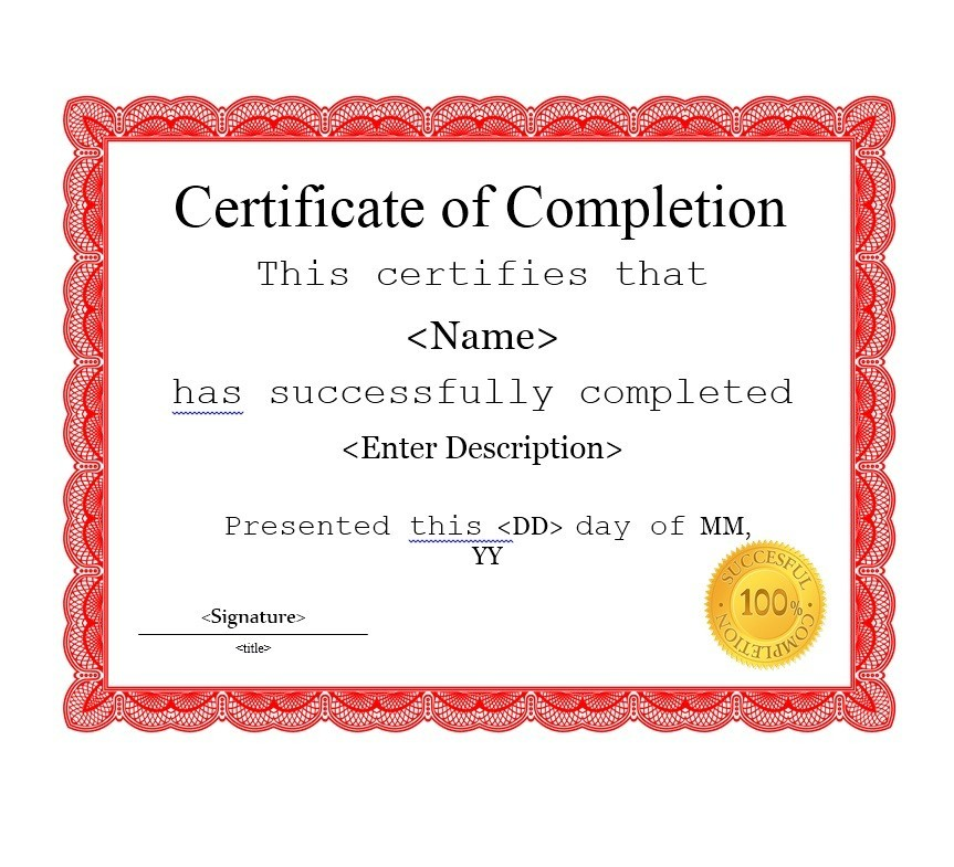 Free Certificate of Completion Template 15