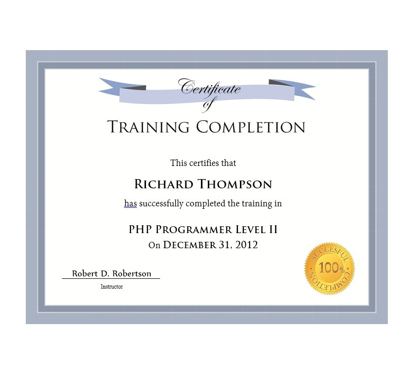 photo regarding Free Printable Certificate of Completion named 40 Outstanding Certification of Completion Templates [Term