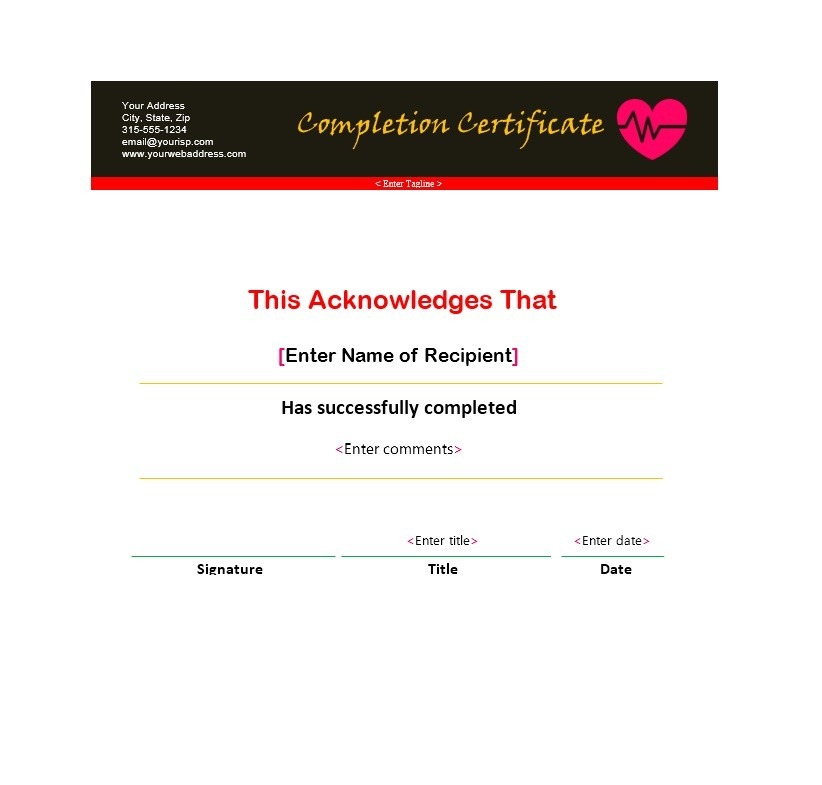 Free Certificate of Completion Template 18