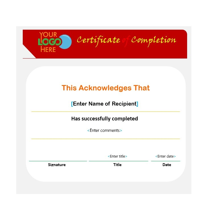 Free Certificate of Completion Template 21