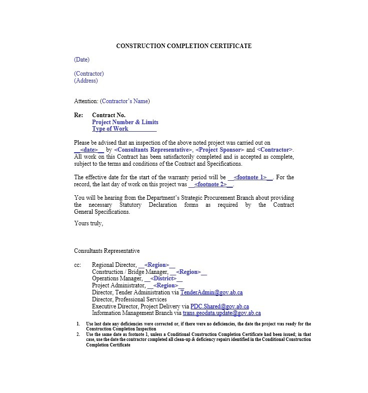 Free Certificate of Completion Template 22